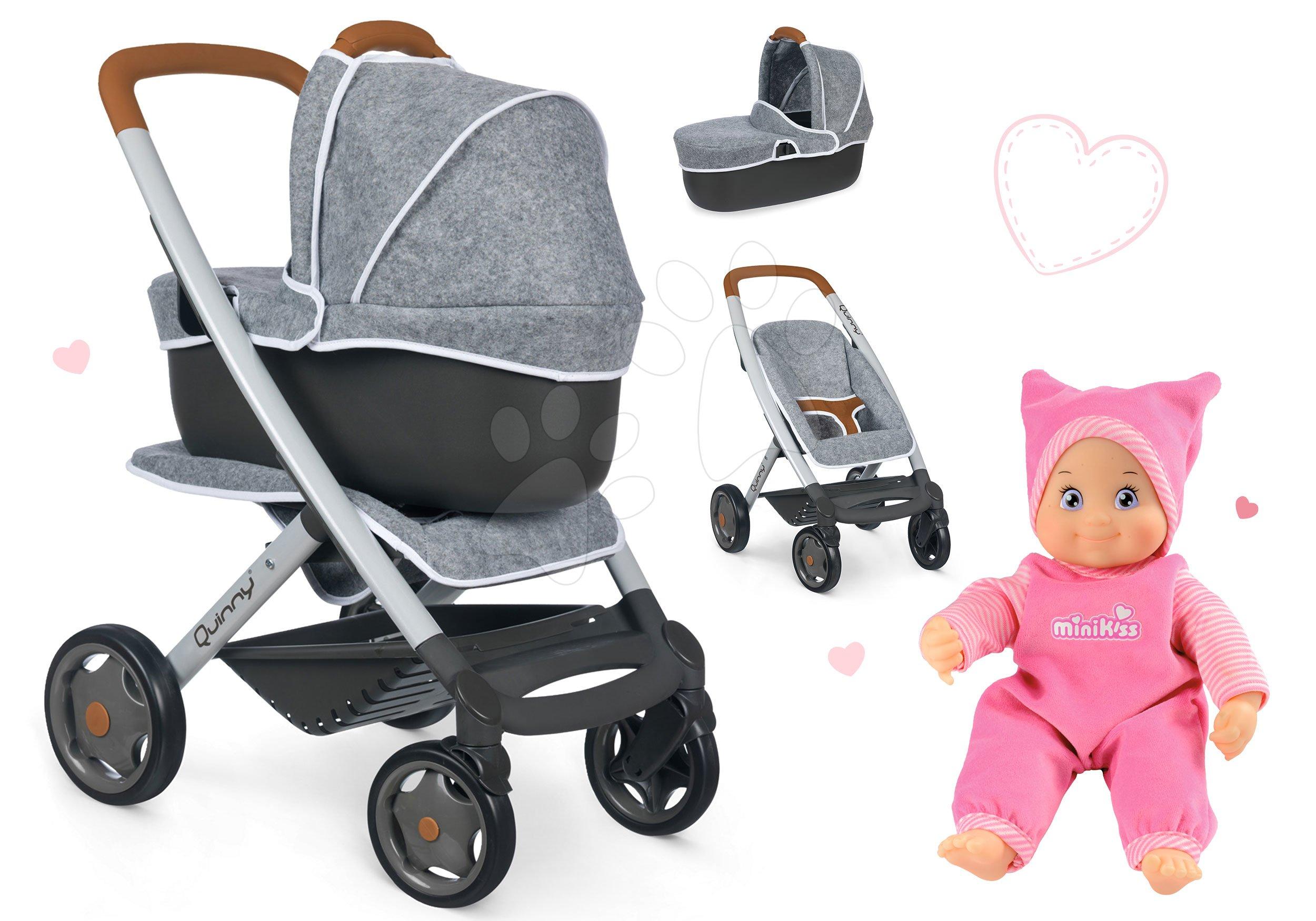 Set cărucior adânc și sportiv DeLuxe Pastel Maxi Cosi&Quinny Grey 3în1 Smoby și păpușa Minikiss cu sunete