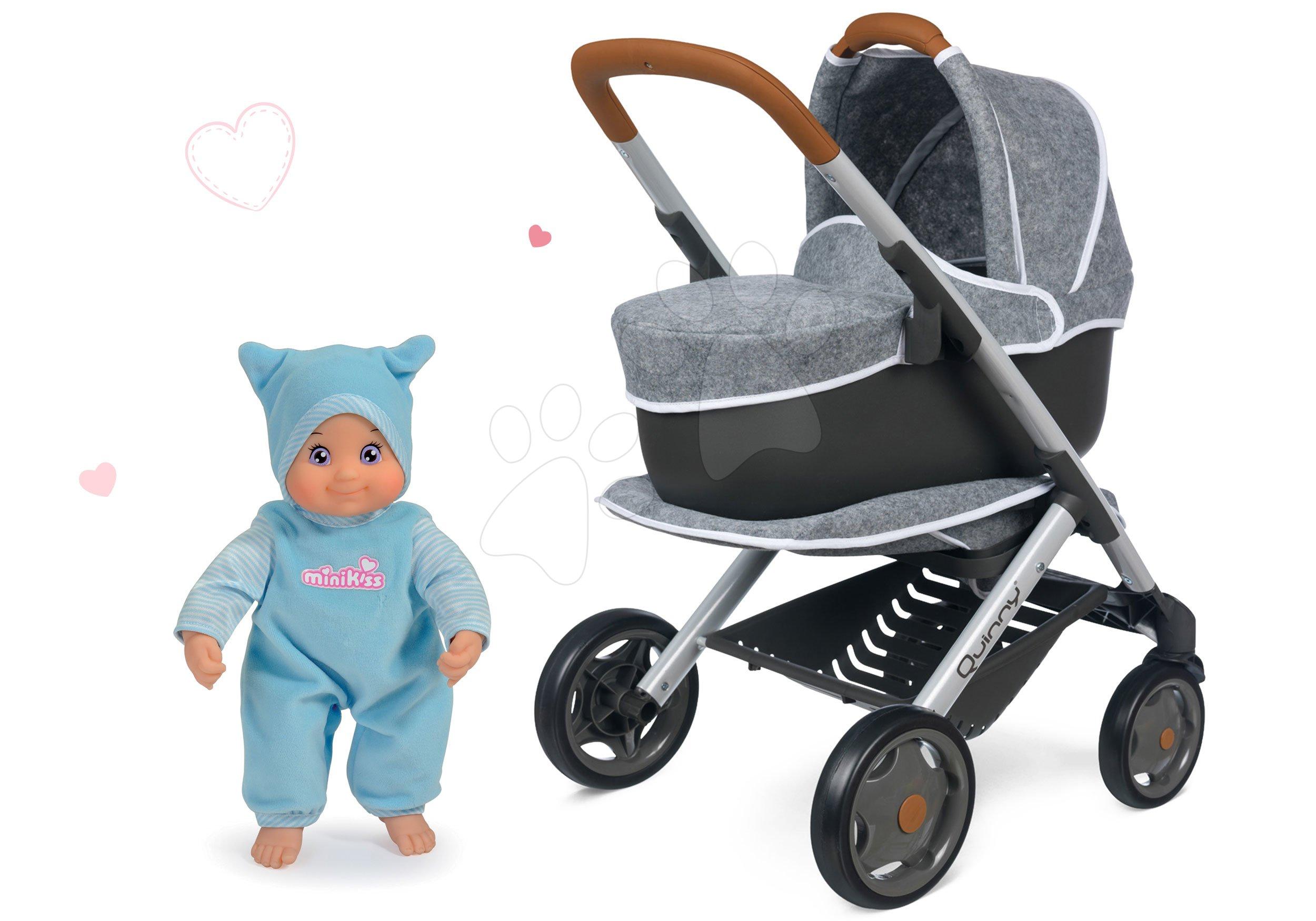 Set kočárek hluboký a sportovní DeLuxe Pastel Maxi Cosi&Quinny Grey 3v1 Smoby a modrá panenka MiniKiss se zvukem