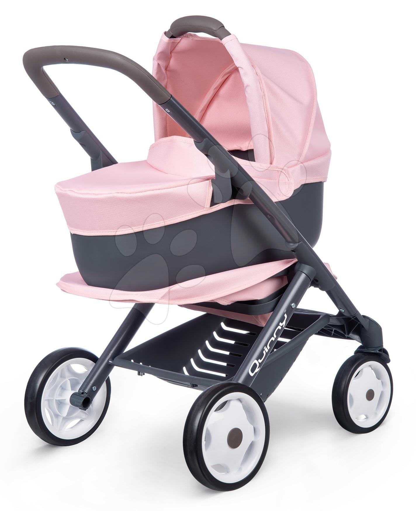 Vozički za dojenčke - Voziček 3v1 Powder Pink 3in1 Maxi Cosi&Quinny Smoby globoki in športni ter prenosljiva posteljica za 42 cm dojenčka