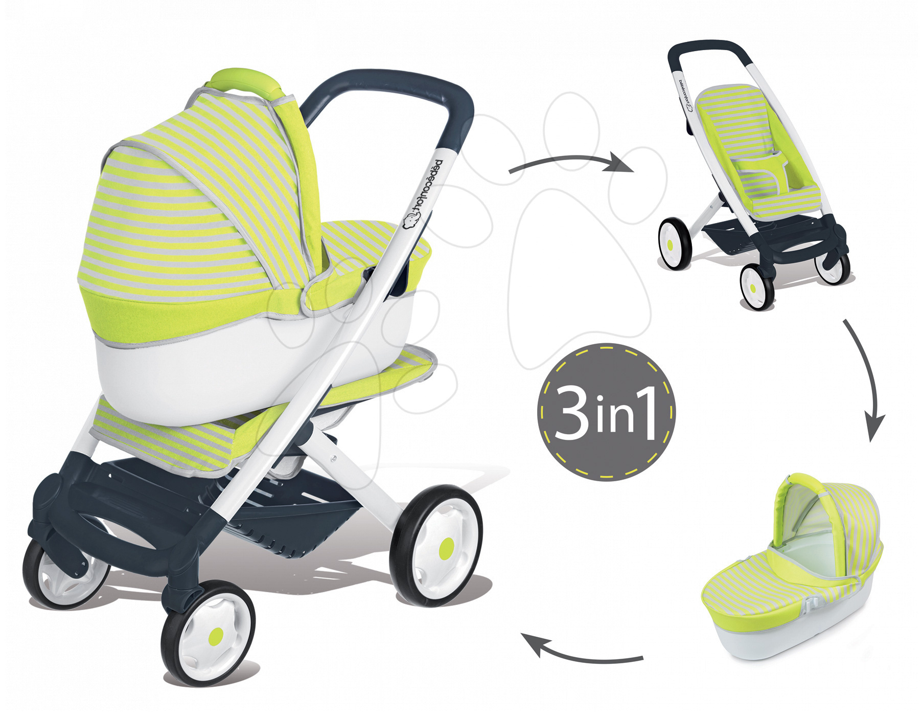 Kočíky od 18 mesiacov - Kočík pre bábiku 3v1 Maxi Cosi & Quinny Smoby (66,5 cm rúčka) zeleno-šedý