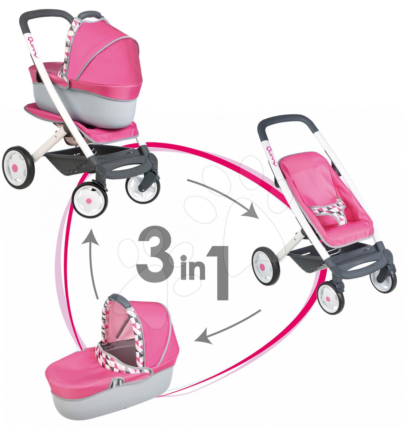 Babakocsi játékbabának 3in1 retro Maxi Cosi&Quinny Smoby mózeskosárral (65,5 cm tolókar) rózsaszín