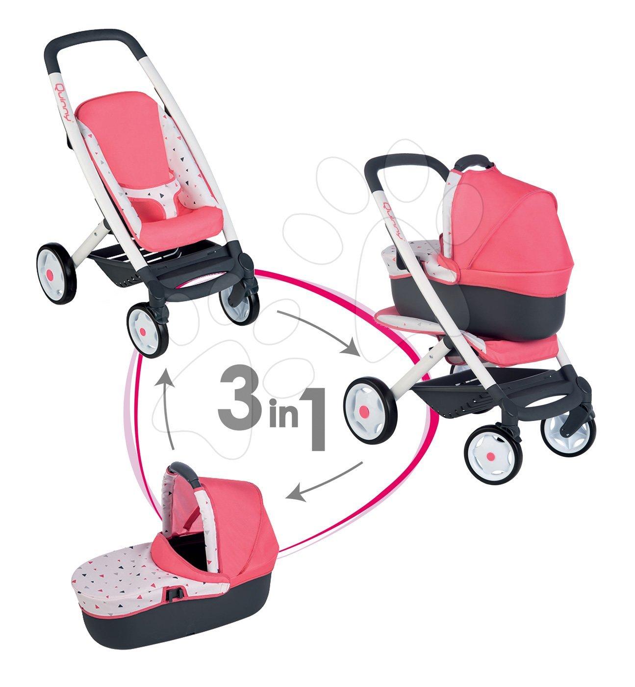 Smoby kočík hlboký a športový Trio Pastel Maxi Cosi & Quinny 3v1 s nosítkom pre bábiku ružový vzorovaný 253198