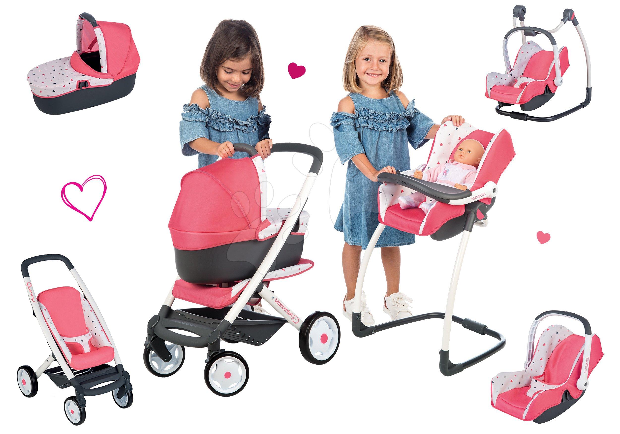 Smoby set kočík Trio Pastel Maxi Cosi & Quinny Smoby 3v1 s nosítkom pre bábiku, stolička, autosedačka, hojdačka 253198-1
