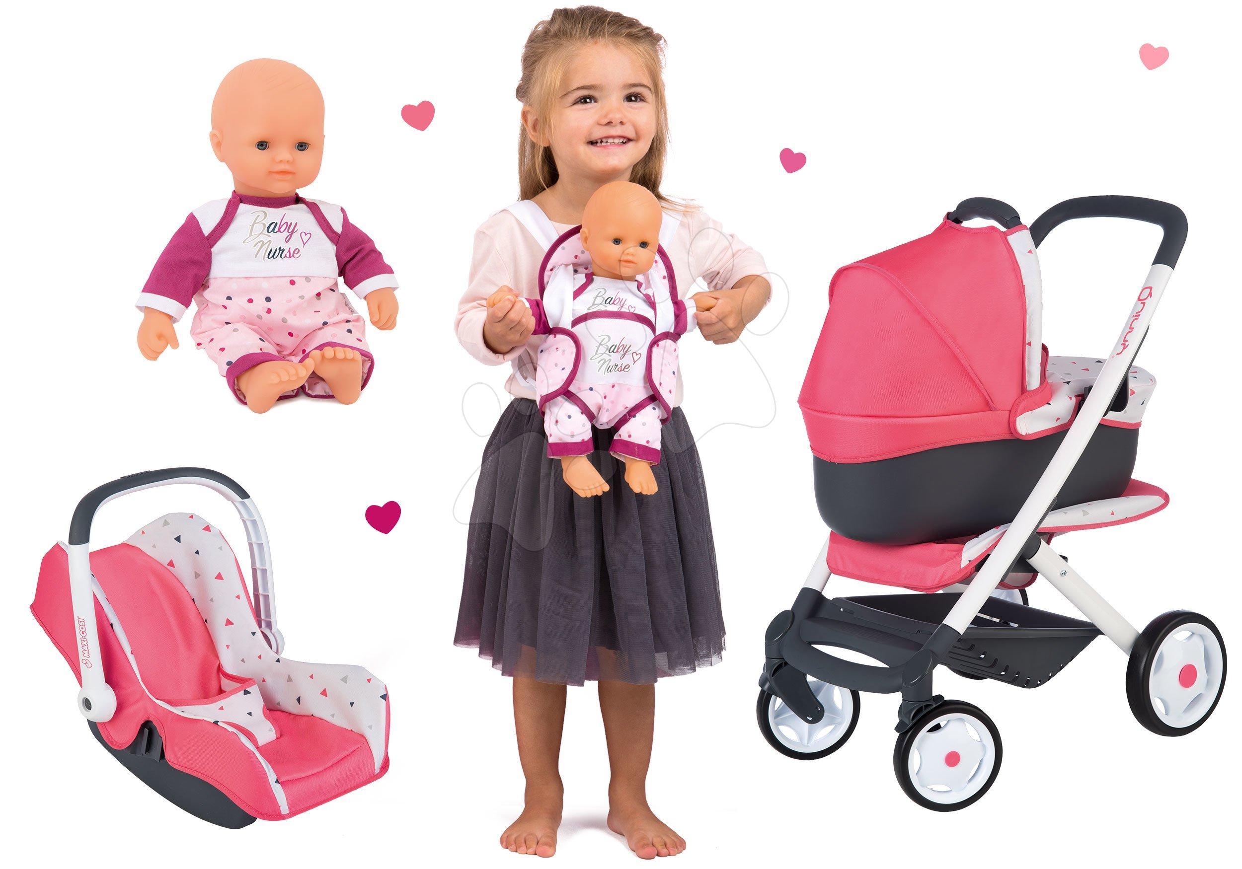 Set kočík hlboký trojkombinácia Trio Pastel Maxi Cosi & Quinny 3v1 Smoby a autosedačka s klokankou a bábika Violette Baby Nurse 32 cm