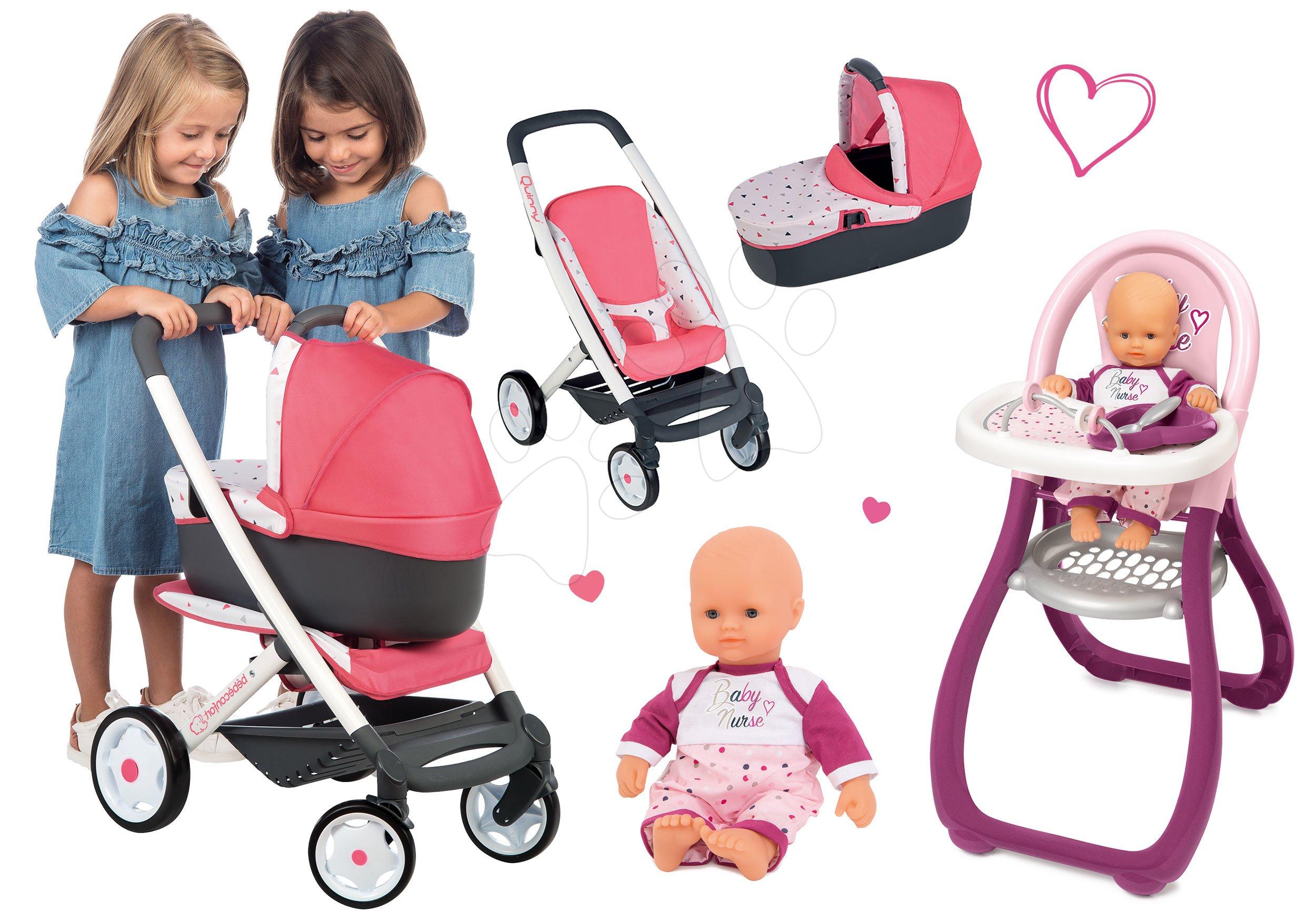 Set kočárek hluboký trojkombinace Trio Pastel Maxi Cosi & Quinny 3v1 Smoby a jídelní židle s panenkou Violette Baby Nurse 32 cm