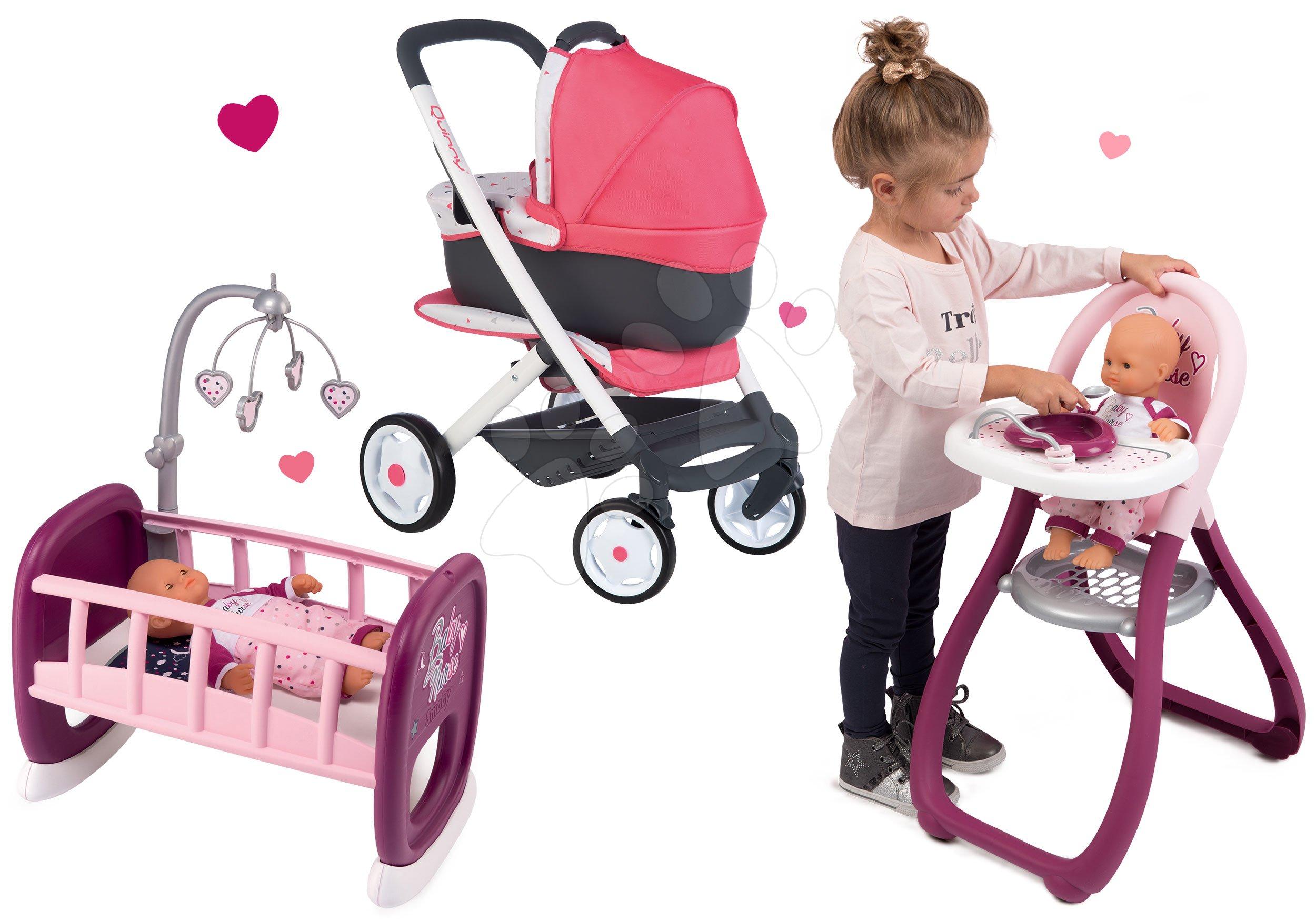 Set kočárek hluboký trojkombinace Trio Pastel Maxi Cosi & Quinny 3v1 Smoby a jídelní židle a kolébka Baby Nurse