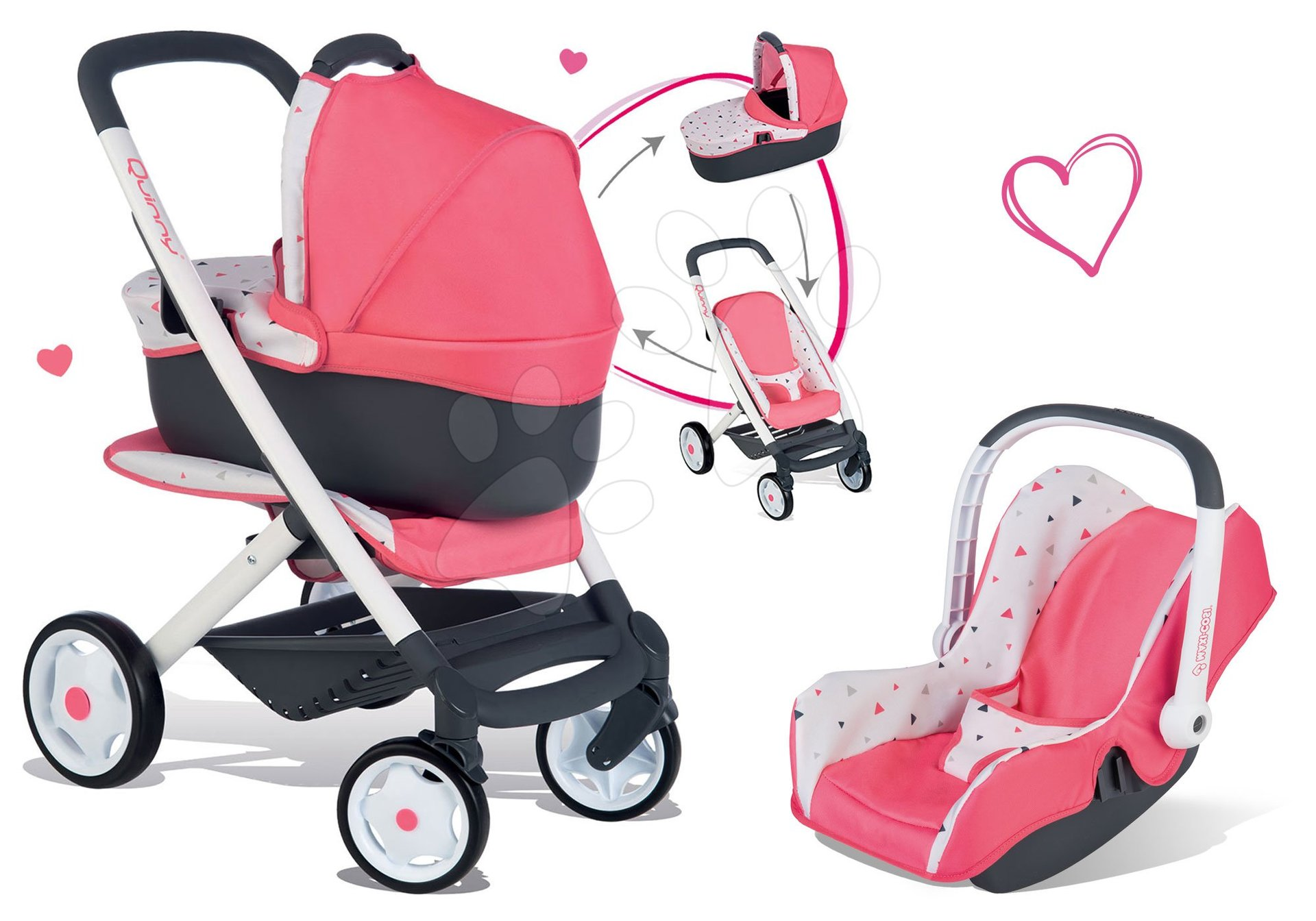 Set kočík Trio Pastel Maxi Cosi & Quinny Smoby 3v1 s nosítkom pre bábiku a autosedačka