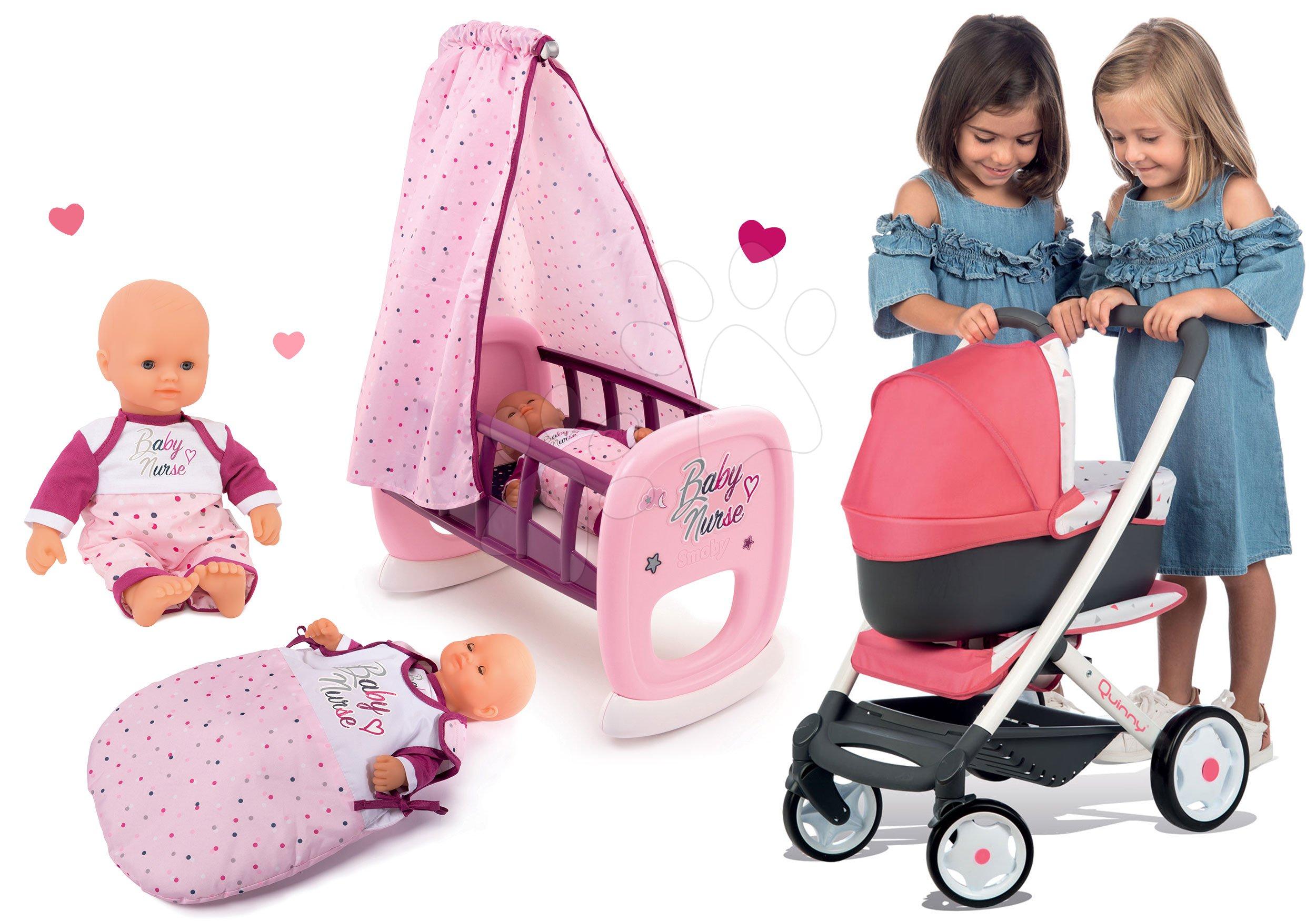 Set kočárek hluboký trojkombinace Trio Pastel Maxi Cosi & Quinny 3v1 Smoby a kolébka se spacím pytlem a panenka Violette Baby Nurse 32 cm