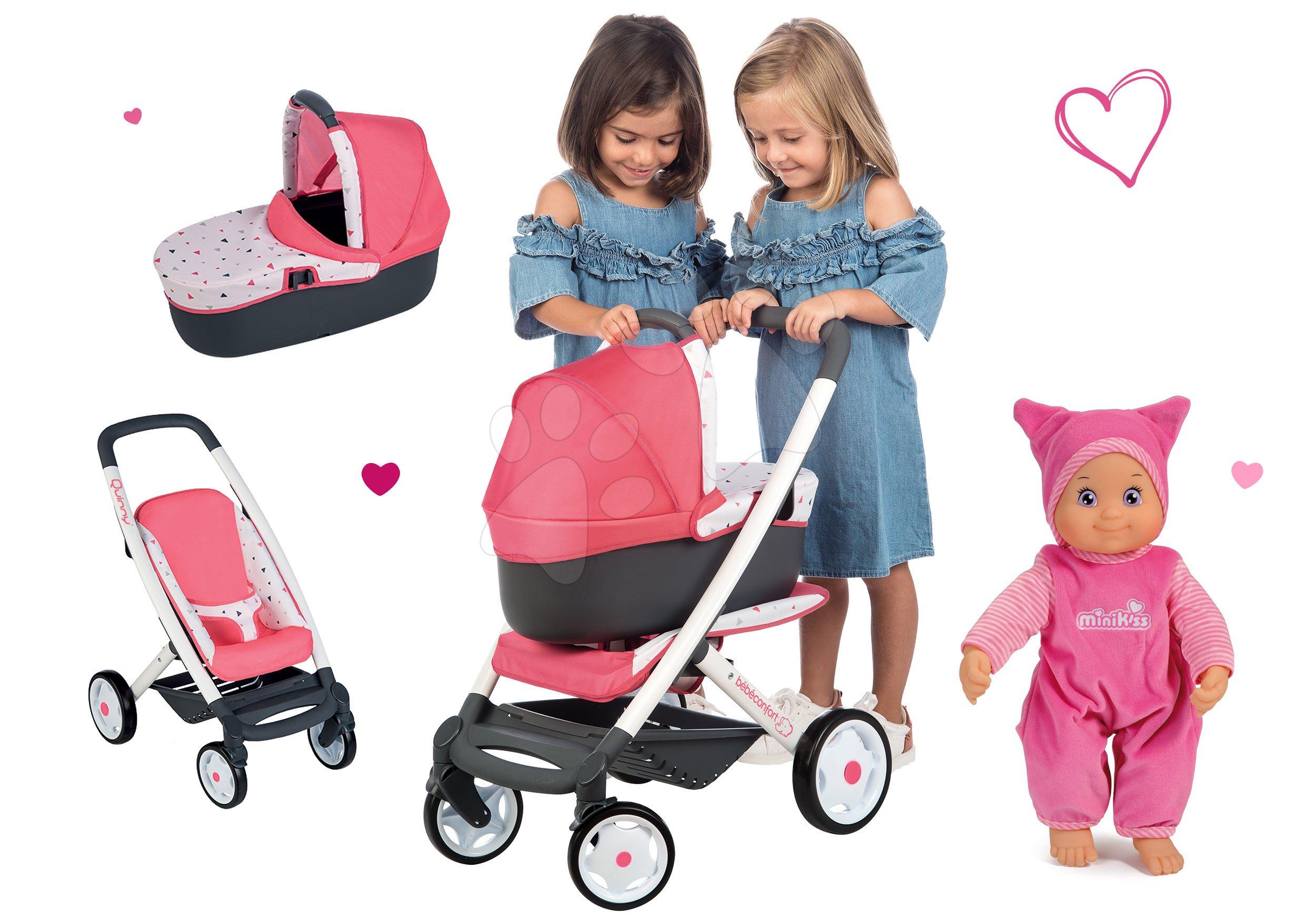 Set cărucior adânc Trio Pastel Maxi Cosi&Quinny 3în1 Smoby și păpușă de jucărie Minikiss cu sunet