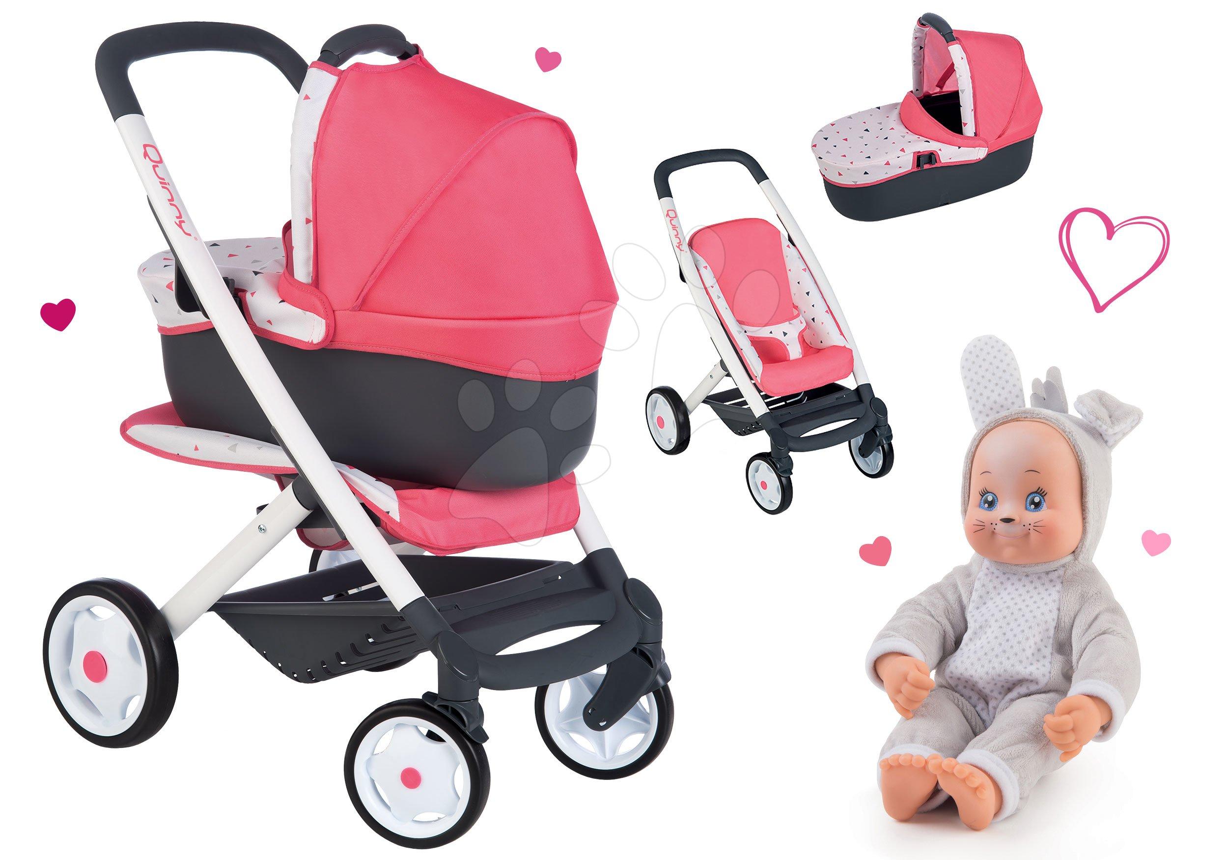 Set cărucior adânc Trio Pastel Maxi Cosi&Quinny 3în1 Smoby și păpușă de jucărie în costum de iepuras Animal Doll MiniKiss 27 cm cu sunet
