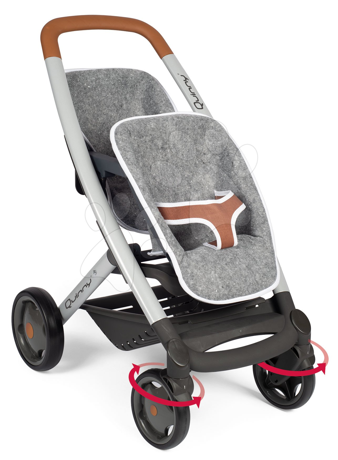 Vozički za dojenčke - Voziček za dva dojenčka DeLuxe Pastel Maxi Cosi&Quinny Grey Smoby s premičnim naslonjalom in z višino ročaja 65 cm