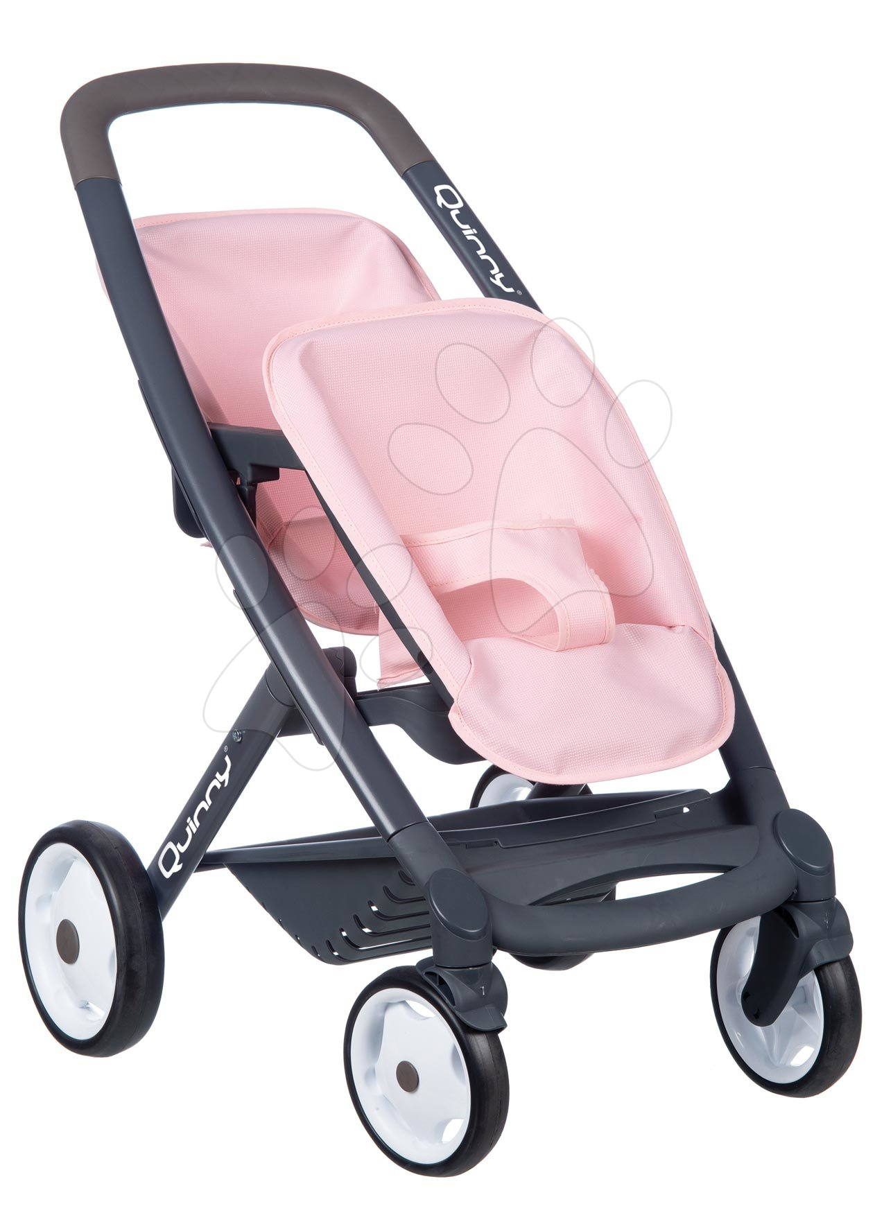 Kočárek pro dvojčata Powder Pink Maxi Cosi&Quinny Smoby s bezpečnostním pásem pro 42 cm panenky