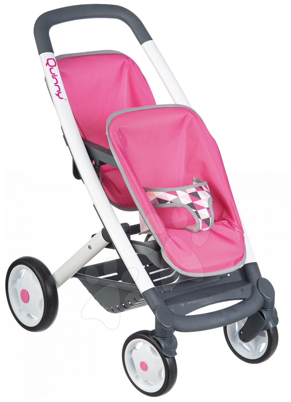 Smoby detský kočiarik pre dve bábiky Maxi Cosi&Quinny 253297 ružový