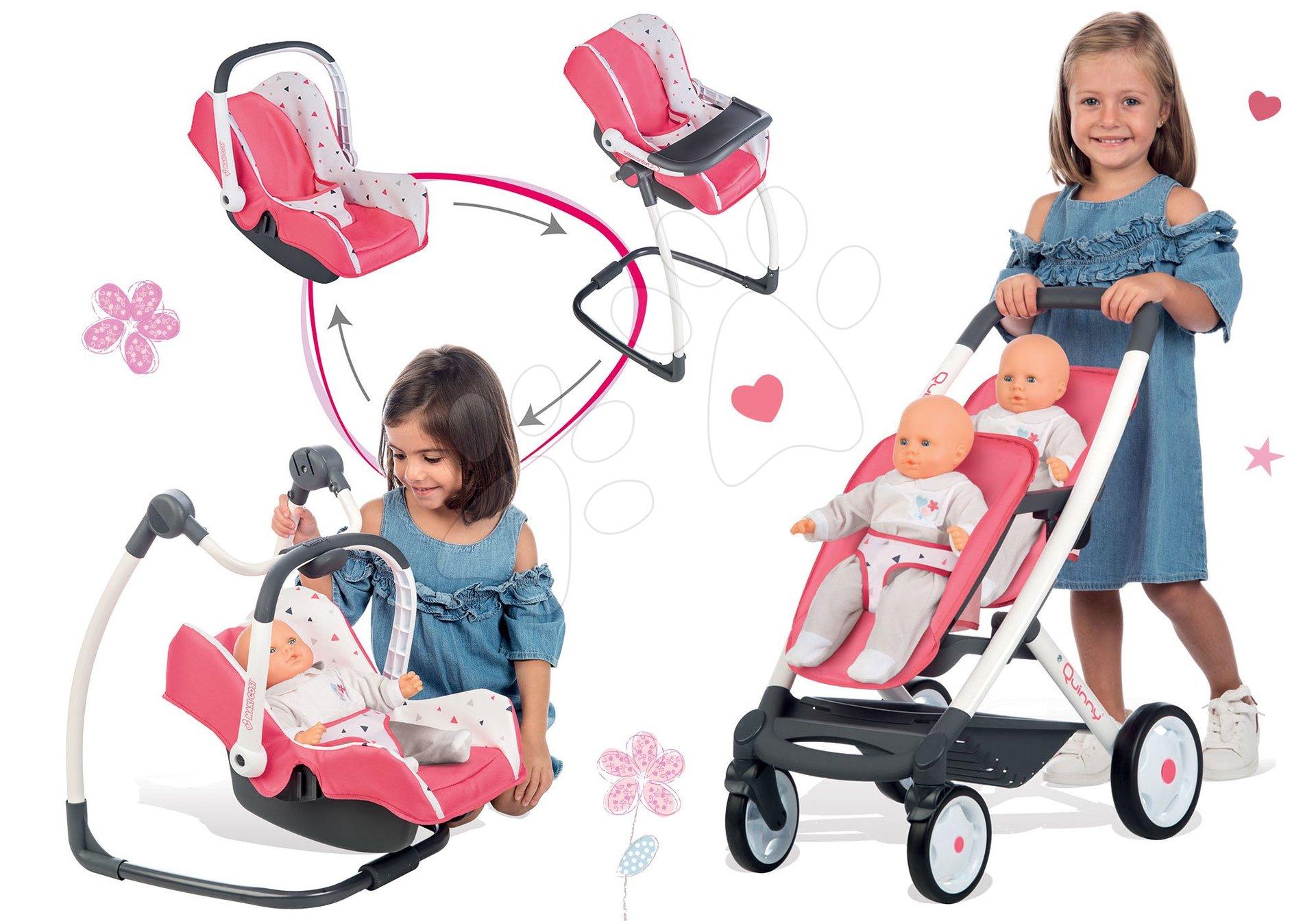Set kočík pre dve bábiky Trio Pastel Maxi Cosi & Quinny Smoby a stolička, autosedačka a hojdačka