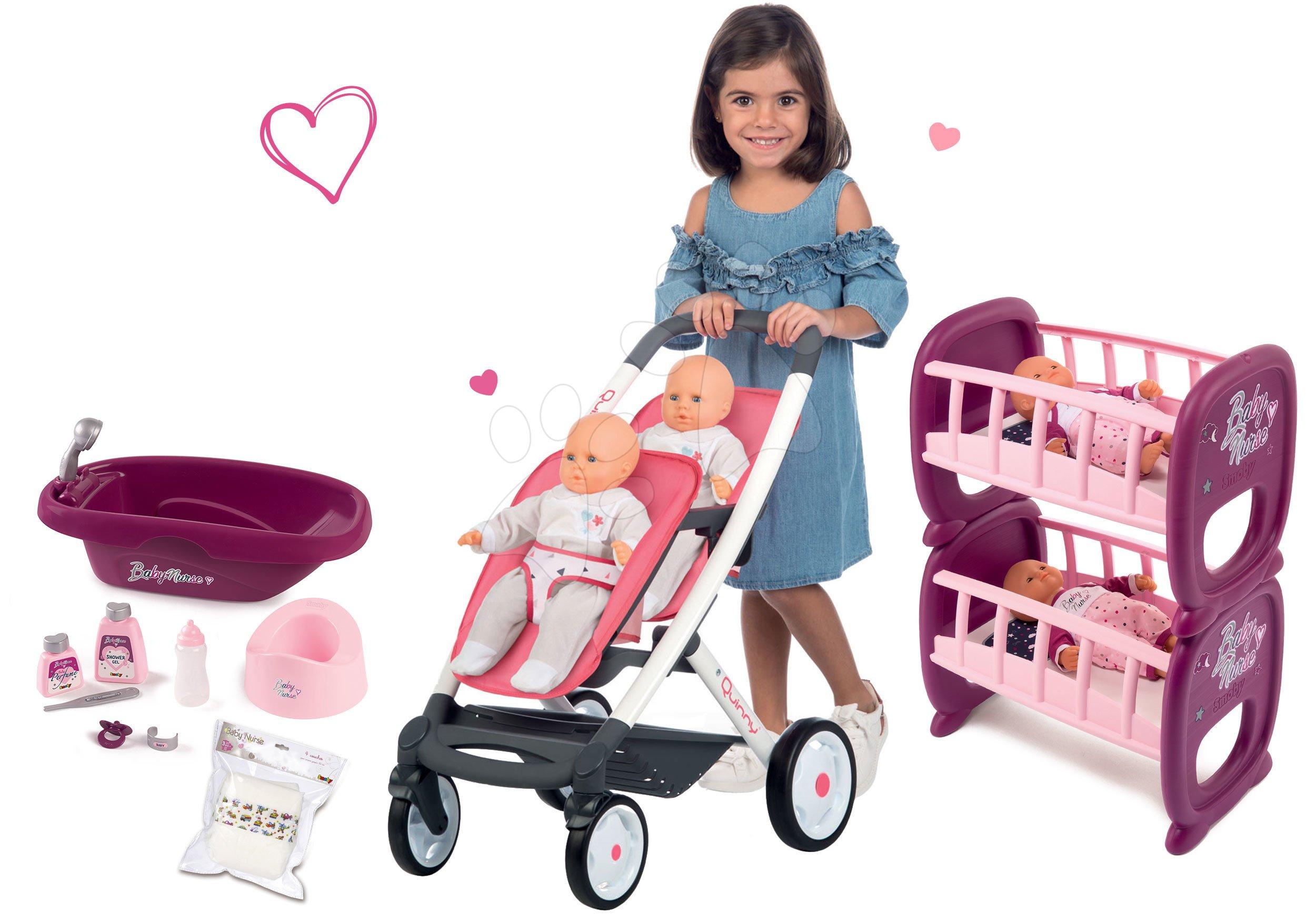 Set kočík pre dve bábiky Twin Trio Pastel Maxi Cosi & Quinny Smoby a poschodová postieľka Baby Nurse pre 42 cm bábiky s plienkami a vaničkou