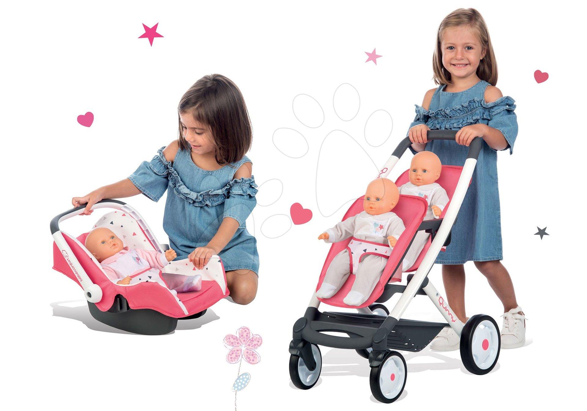 Smoby set kočárek pro dvě panenky Trio Pastel Maxi Cosi & Quinny a autosedačka 253298-2