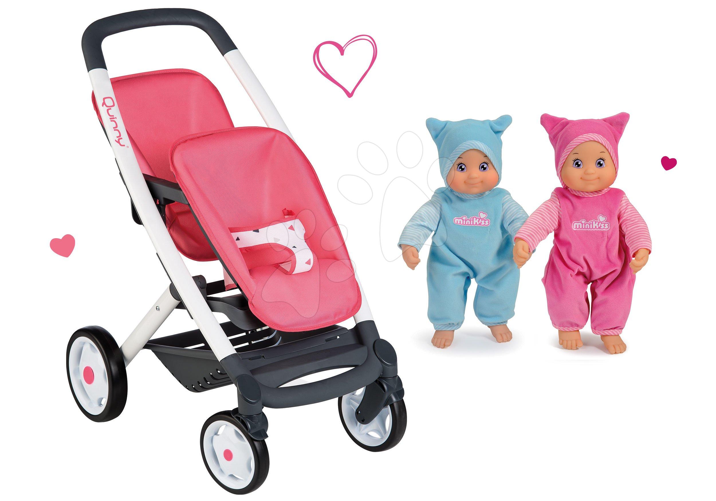 Set kočárek pro dvě panenky Twin Trio Pastel Maxi Cosi & Quinny Smoby a panenky dvojčata MiniKiss se