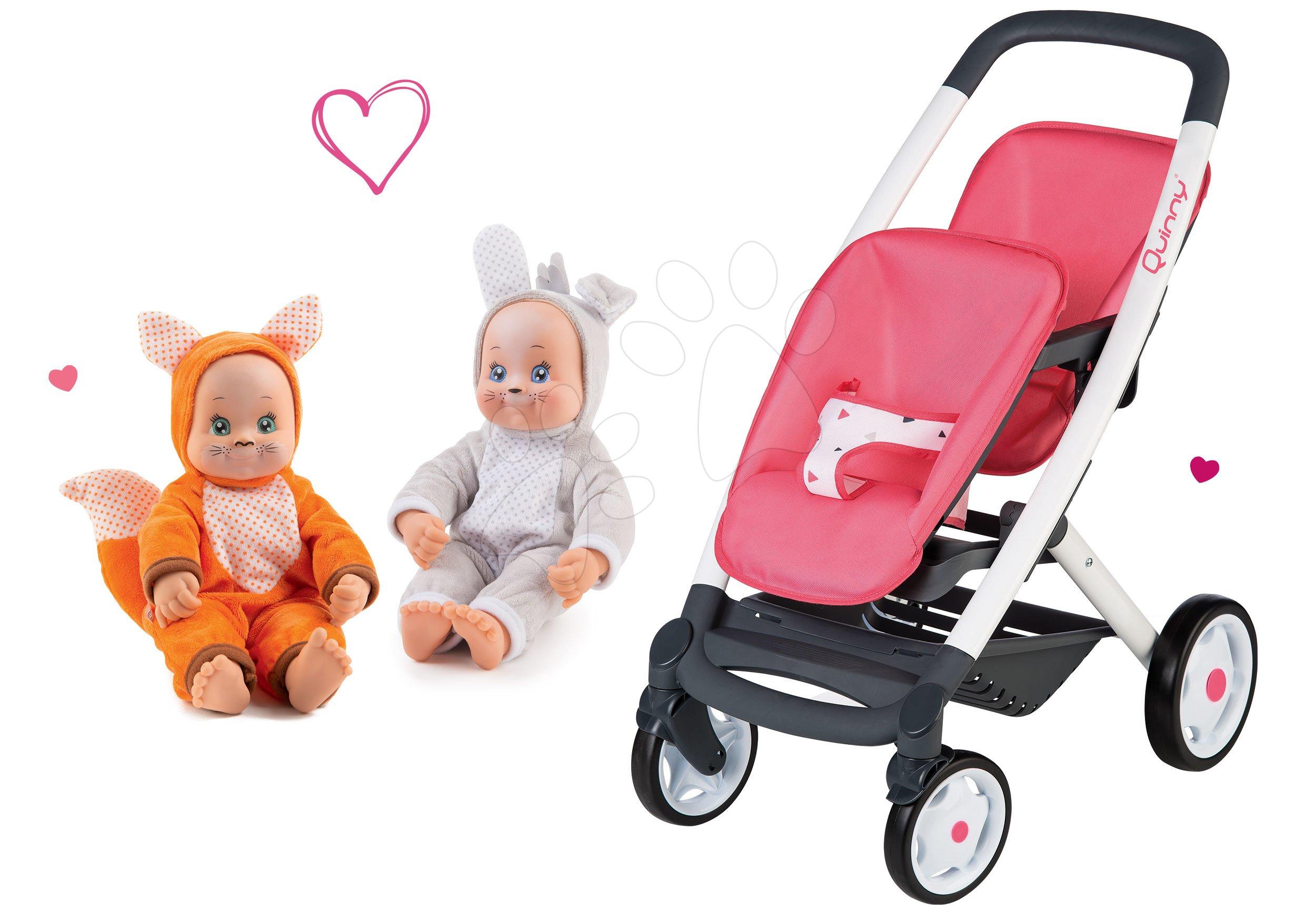 Set kočík pre dve bábiky Twin Trio Pastel Maxi Cosi & Quinny Smoby a bábiky dvojičky v kostýme MiniKiss Animal Doll so zvukom