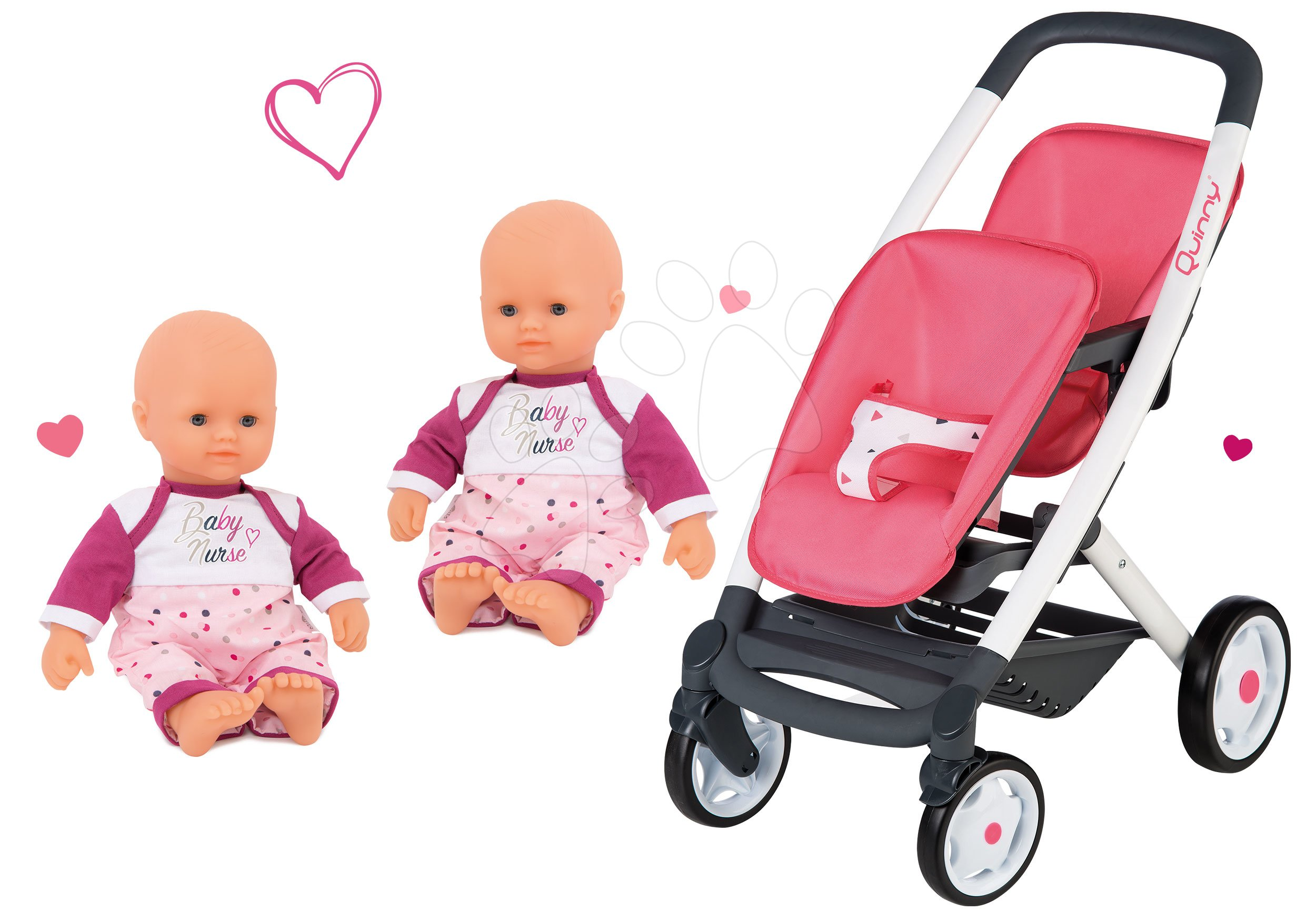 Set kočík pre dve bábiky Twin Trio Pastel Maxi Cosi & Quinny Smoby a bábiky dvojičky Violette Baby Nurse