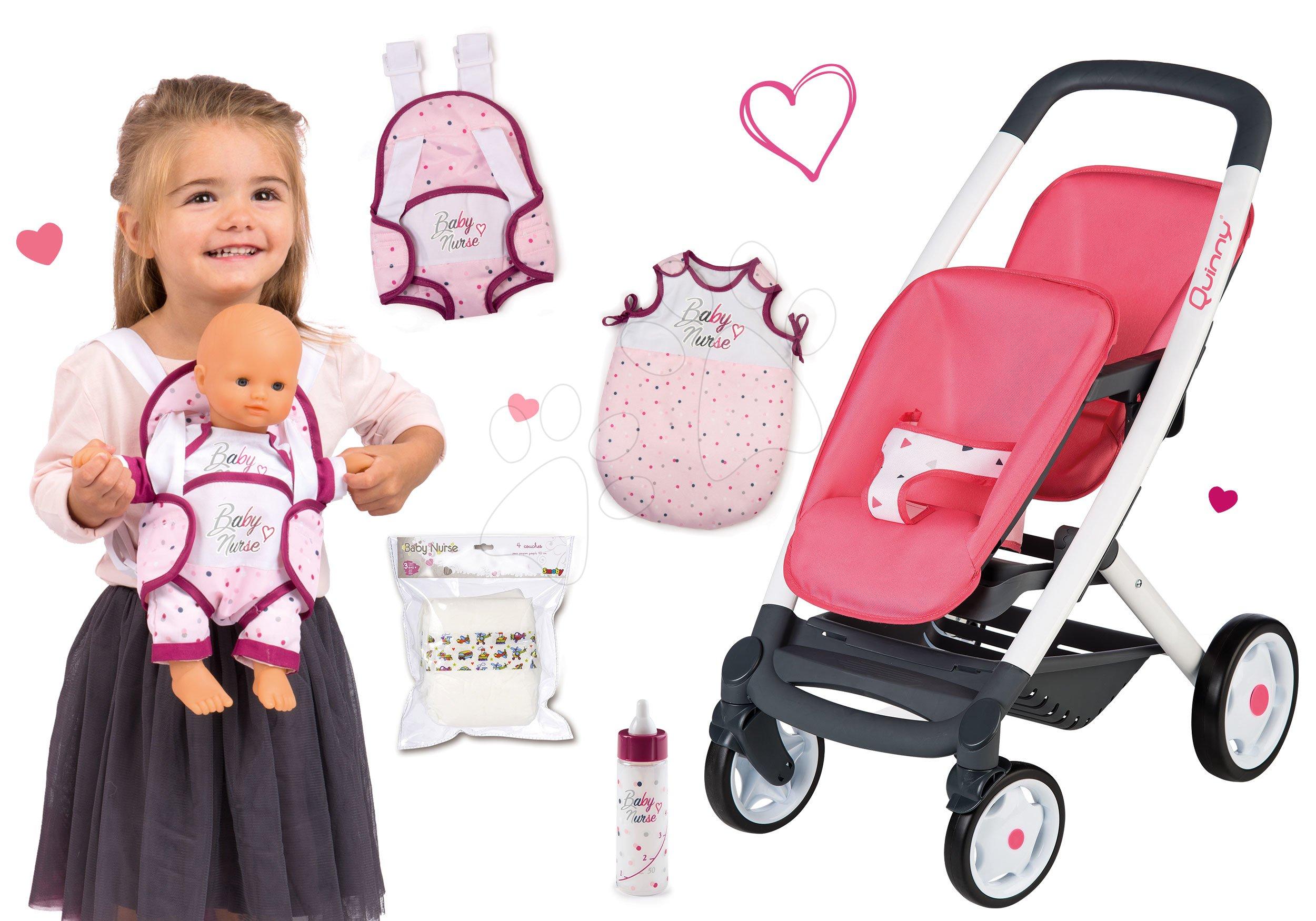 Set kočík pre dve bábiky Twin Trio Pastel Maxi Cosi & Quinny Smoby a ergonomický nosič so spacím vakom a fľaška s pamperskami