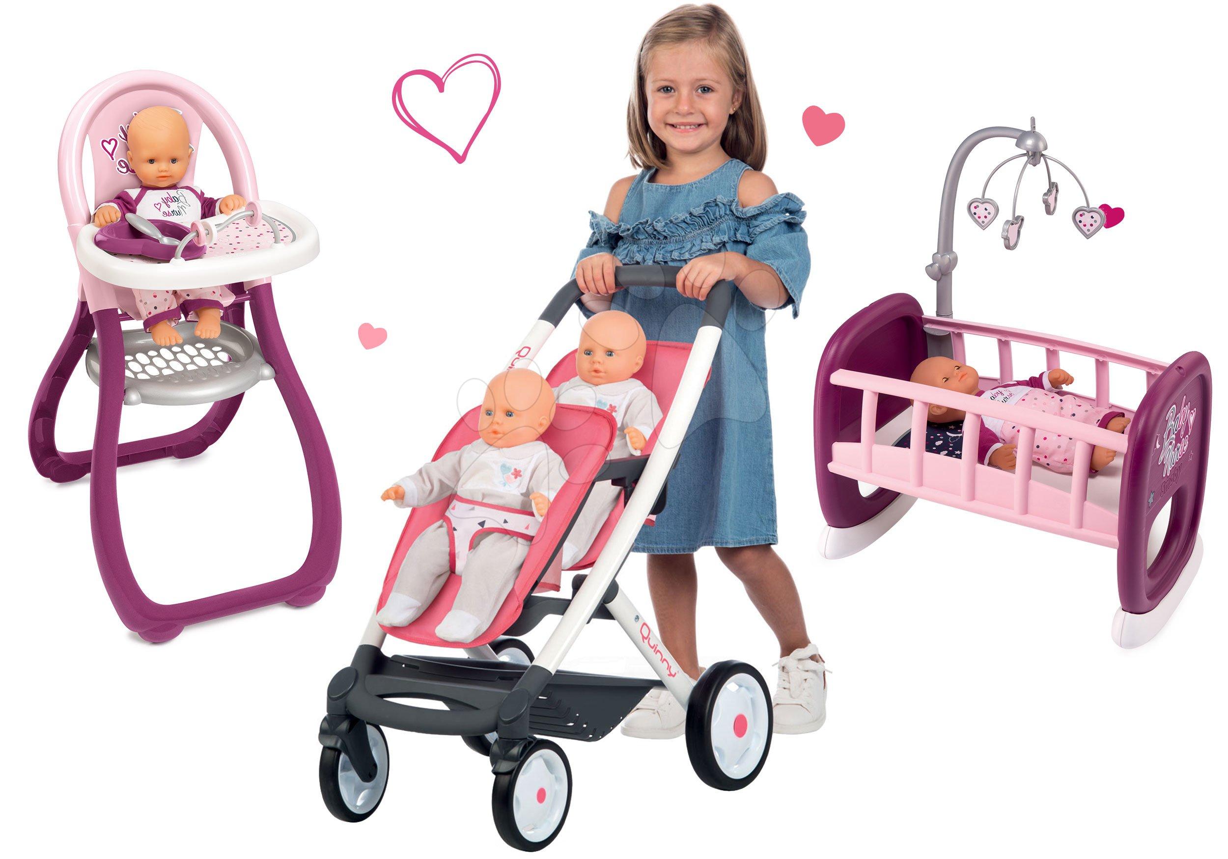 Set kočárek pro dvě panenky Twin Trio Pastel Maxi Cosi & Quinny Smoby a jídelní židle s kolébkou