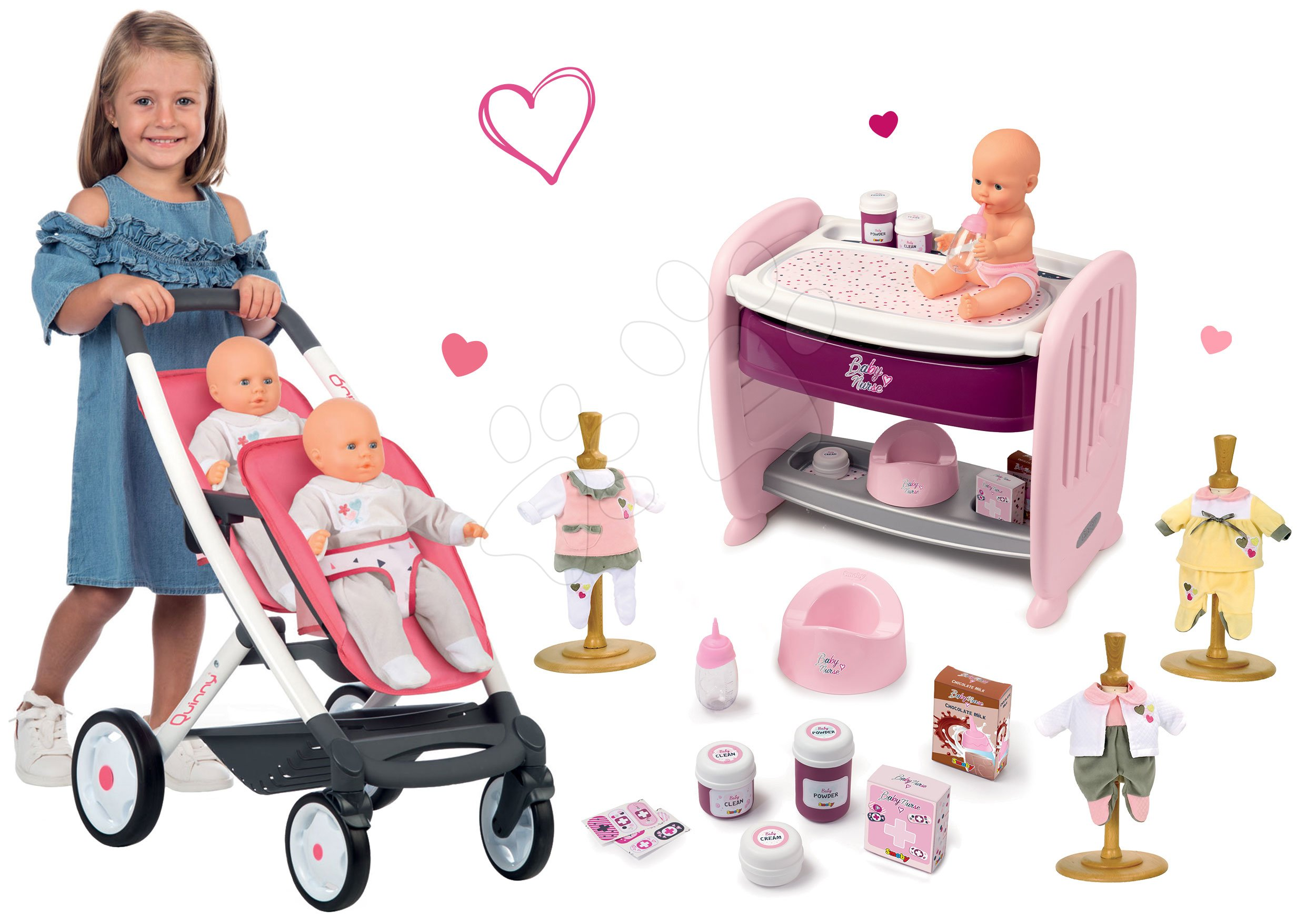 Set kočík pre dve bábiky Twin Trio Pastel Maxi Cosi & Quinny Smoby a postieľka k postieľke s cikajúcou bábikou a šaty