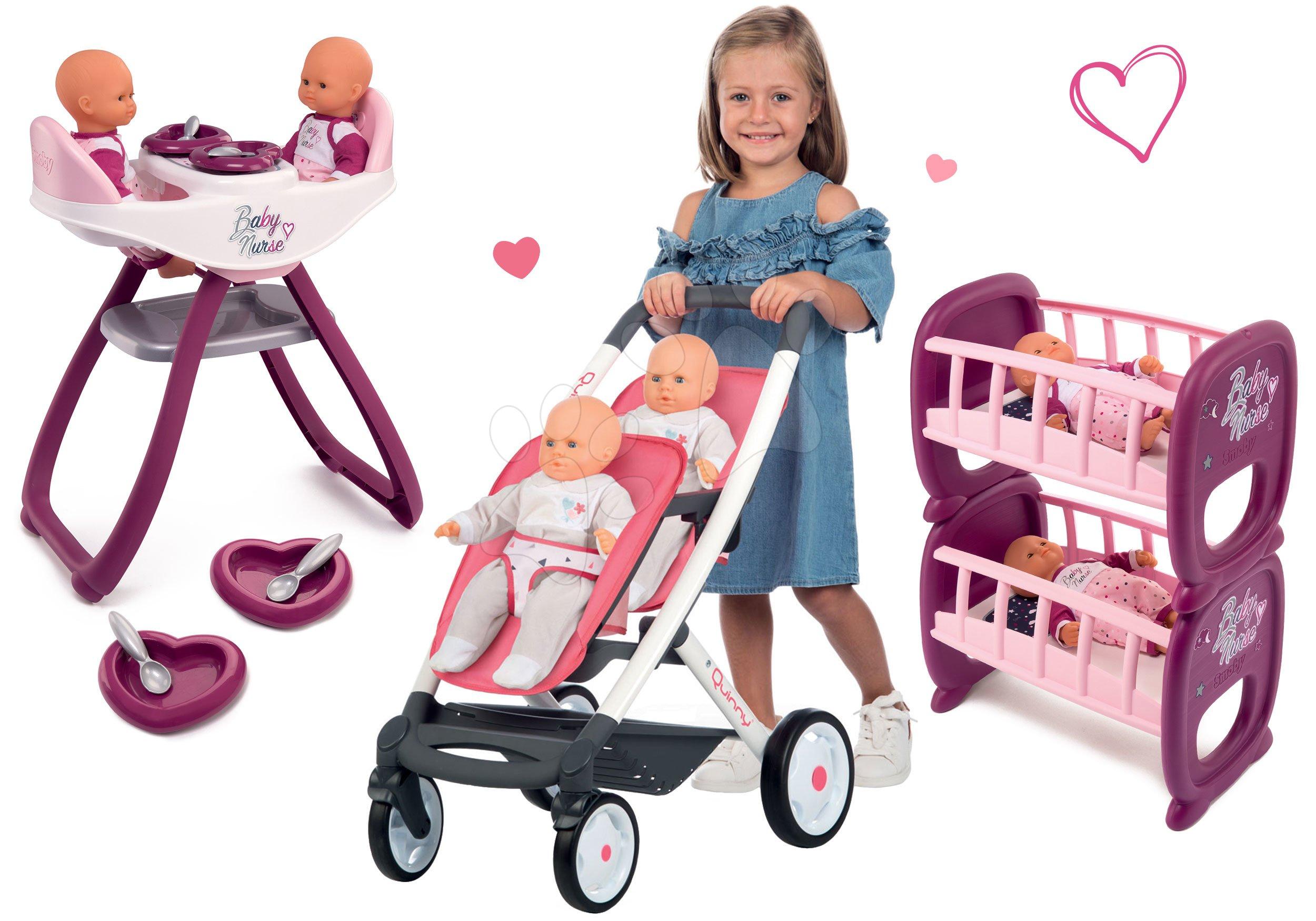 Set kočárek pro dvě panenky Twin Trio Pastel Maxi Cosi & Quinny Smoby a jídelní židle Baby Nurse a postýlky pro 42cm panenky