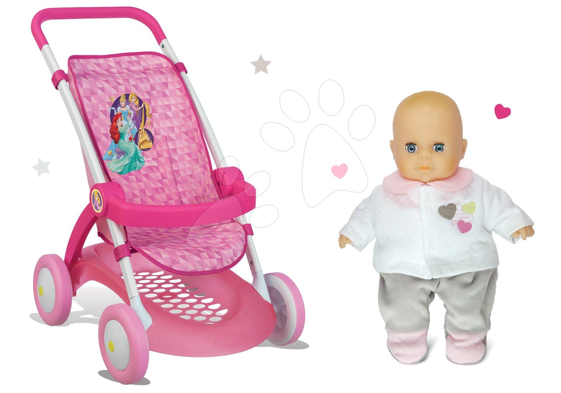 Smoby set športový kočík pre bábiku Princezné Disney s darčekom bábikou 254011-1