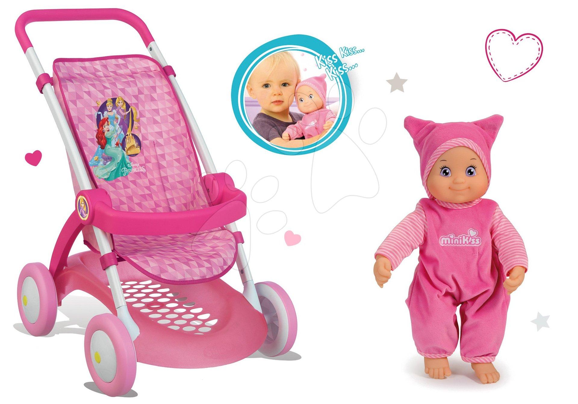 Smoby set športový kočík pre bábiku Princez s bábikou MiniKiss so zvukom pusinky 254011-2