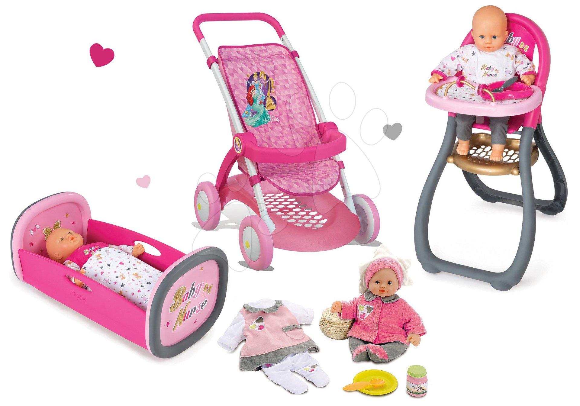 Smoby sportovní kočárek pro panenku, židle, kolébka a panenka s šaty Baby Nurse 254033-1