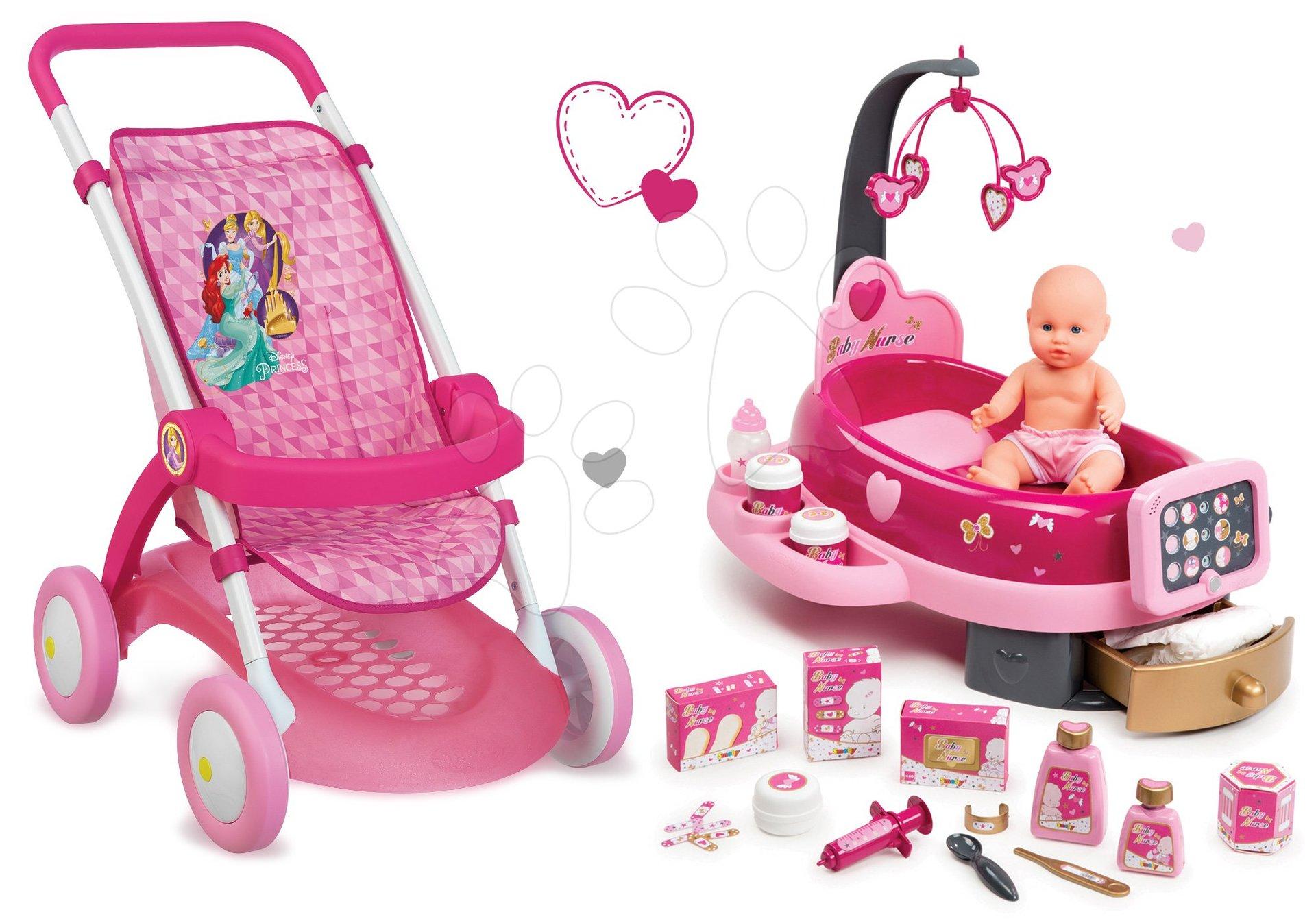 Set kočárek pro panenku Smoby sportovní (58 cm ručka) a pečovatelský kufřík Nursery od 18 měsíců