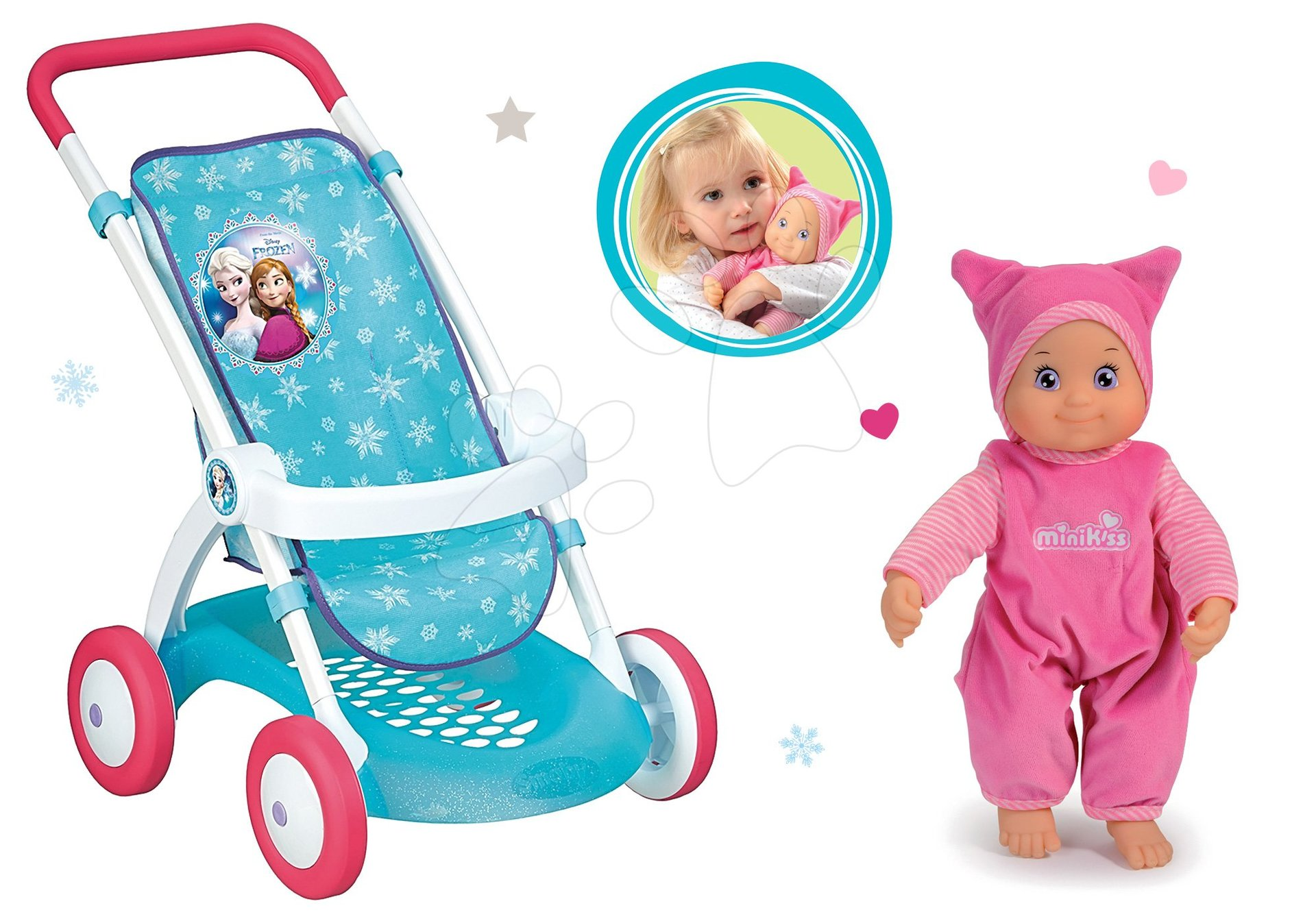 Komplet športni voziček za dojenčka Frozen Smoby z dojenčkom Minikiss z zvokom poljubčka