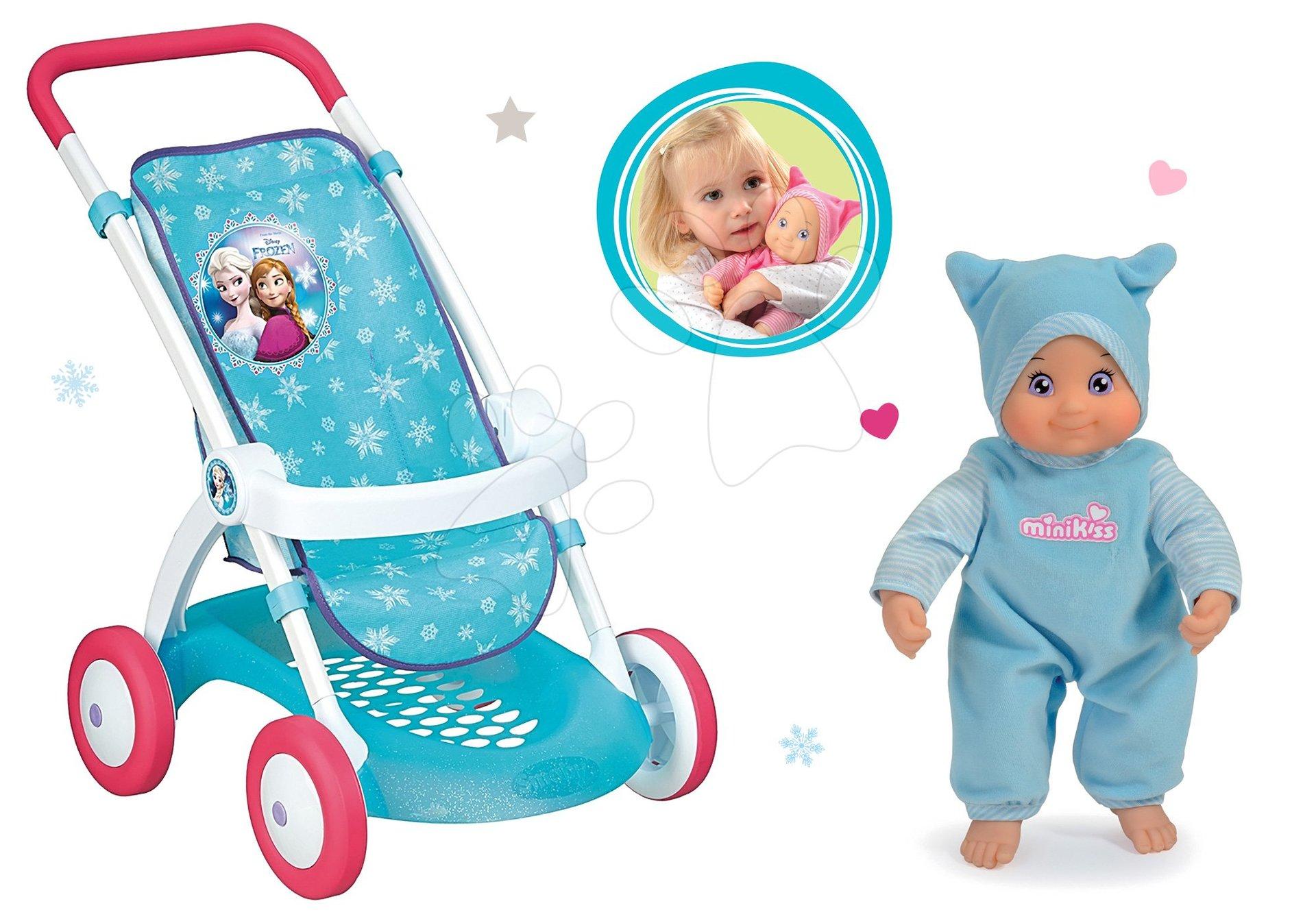Komplet športni voziček za dojenčka Frozen Smoby z dojenčkom Minikiss z zvokom poljubčka od 18 mes