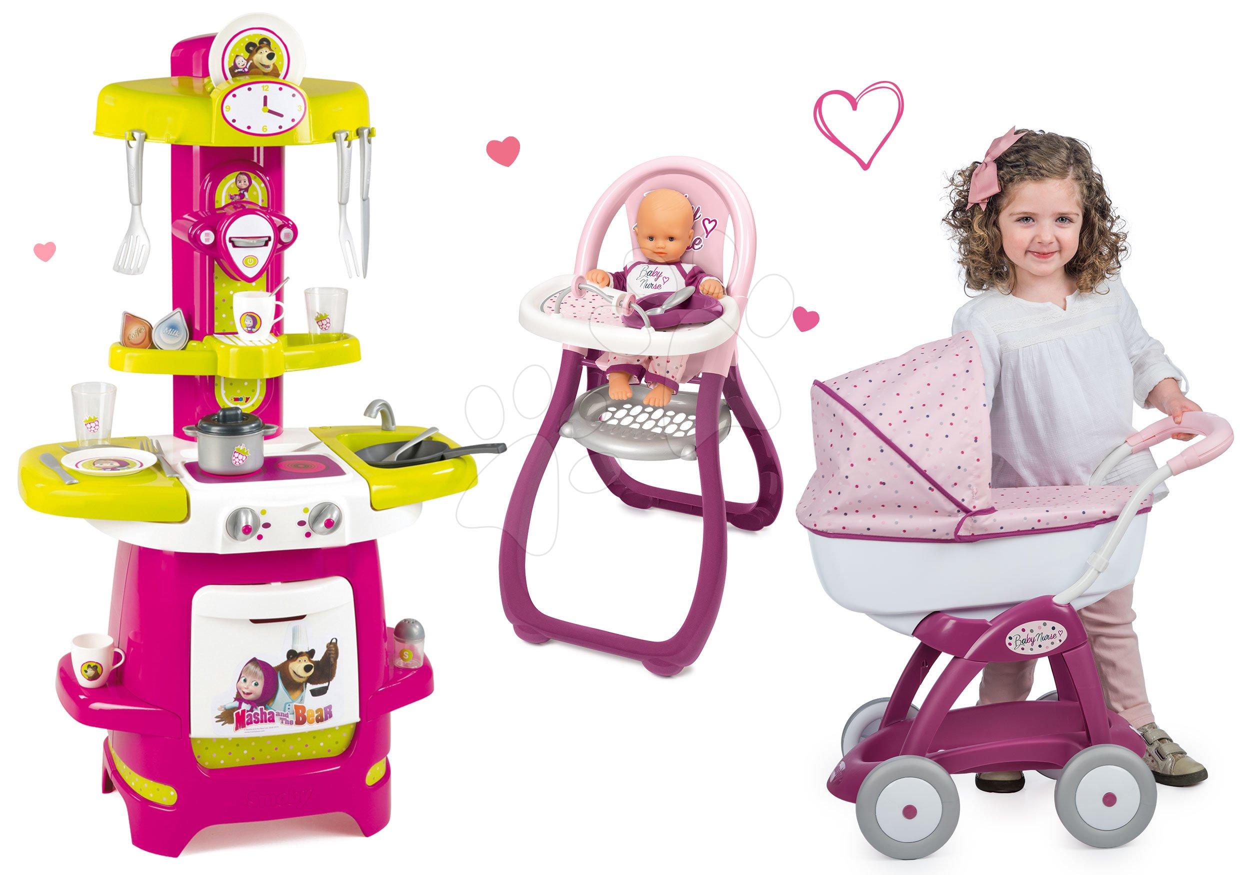 Smoby kočiarik pre bábiku, detská kuchynka a stolička Máša a medveď 254101-2