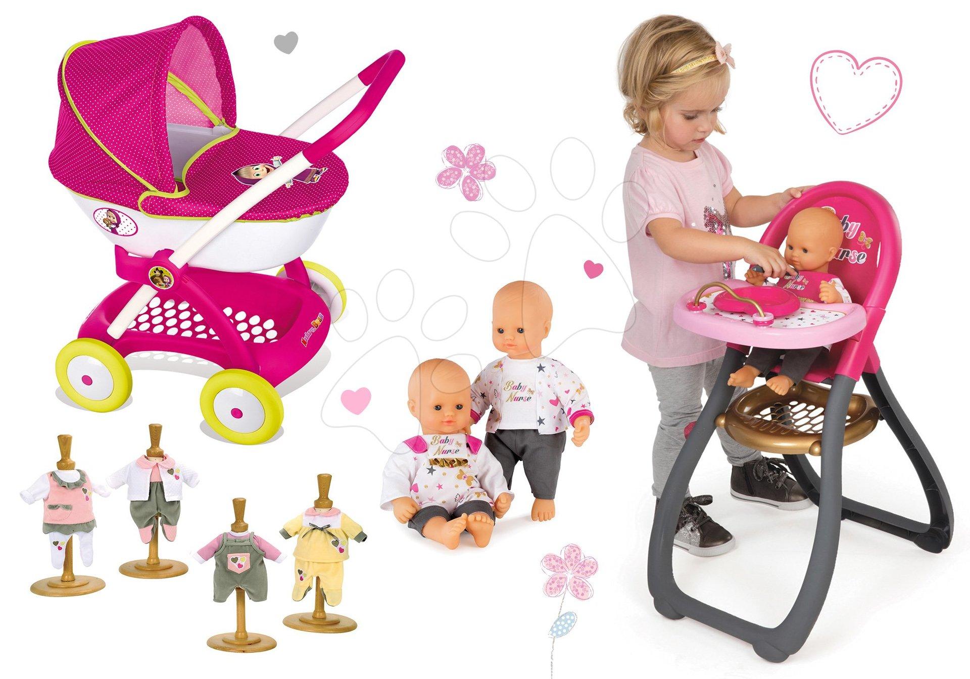 Set kočík Máša a medveď pre bábiku Smoby hlboký (58 cm rúčka), jedálenská stolička a bábika so šatôčkami od 18 mes