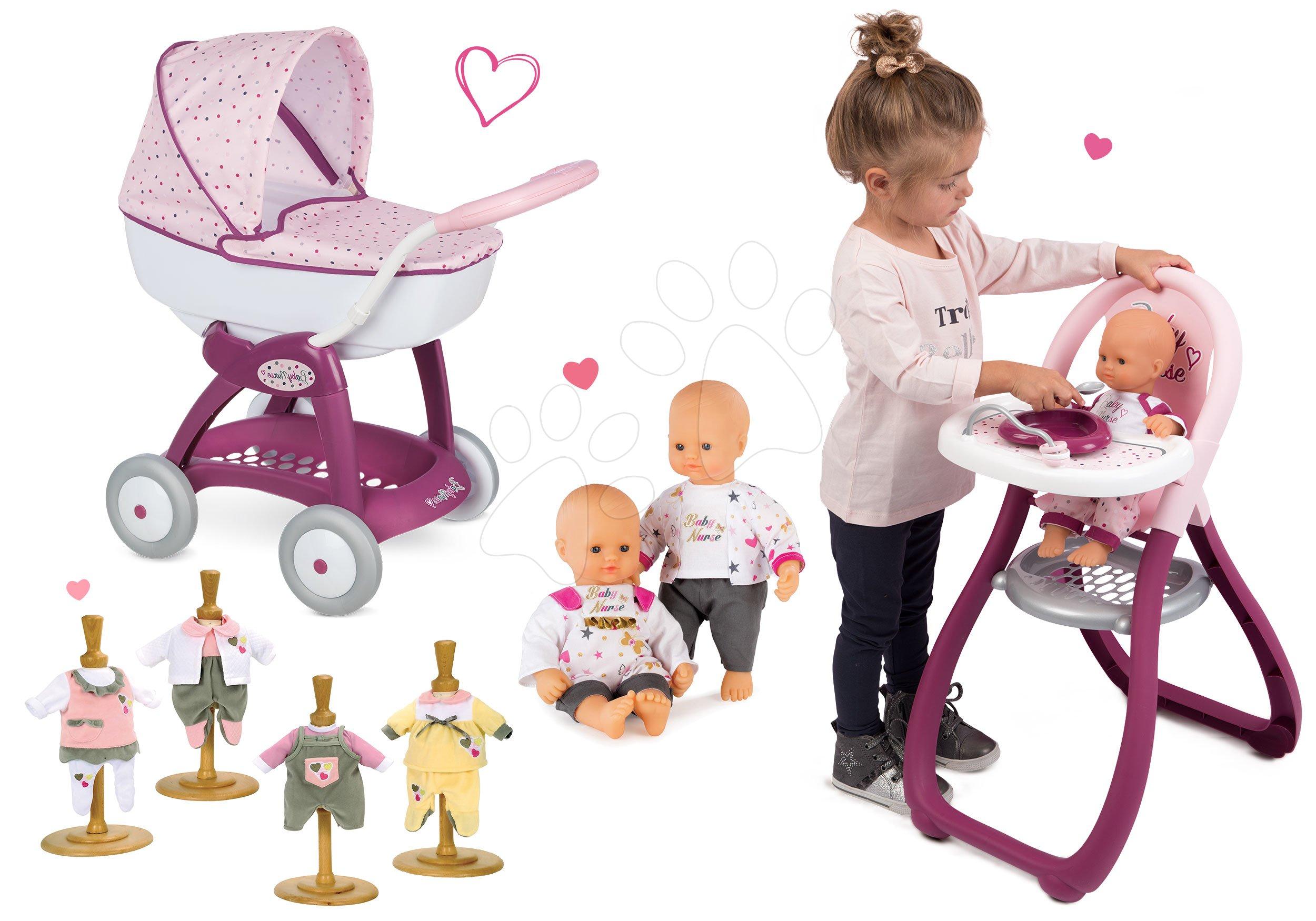 Set kočárek Máša a medvěd pro panenku Smoby hluboký (58 cm rukojeť), jídelní židle a panenka s šatičkami od 18 měsíců