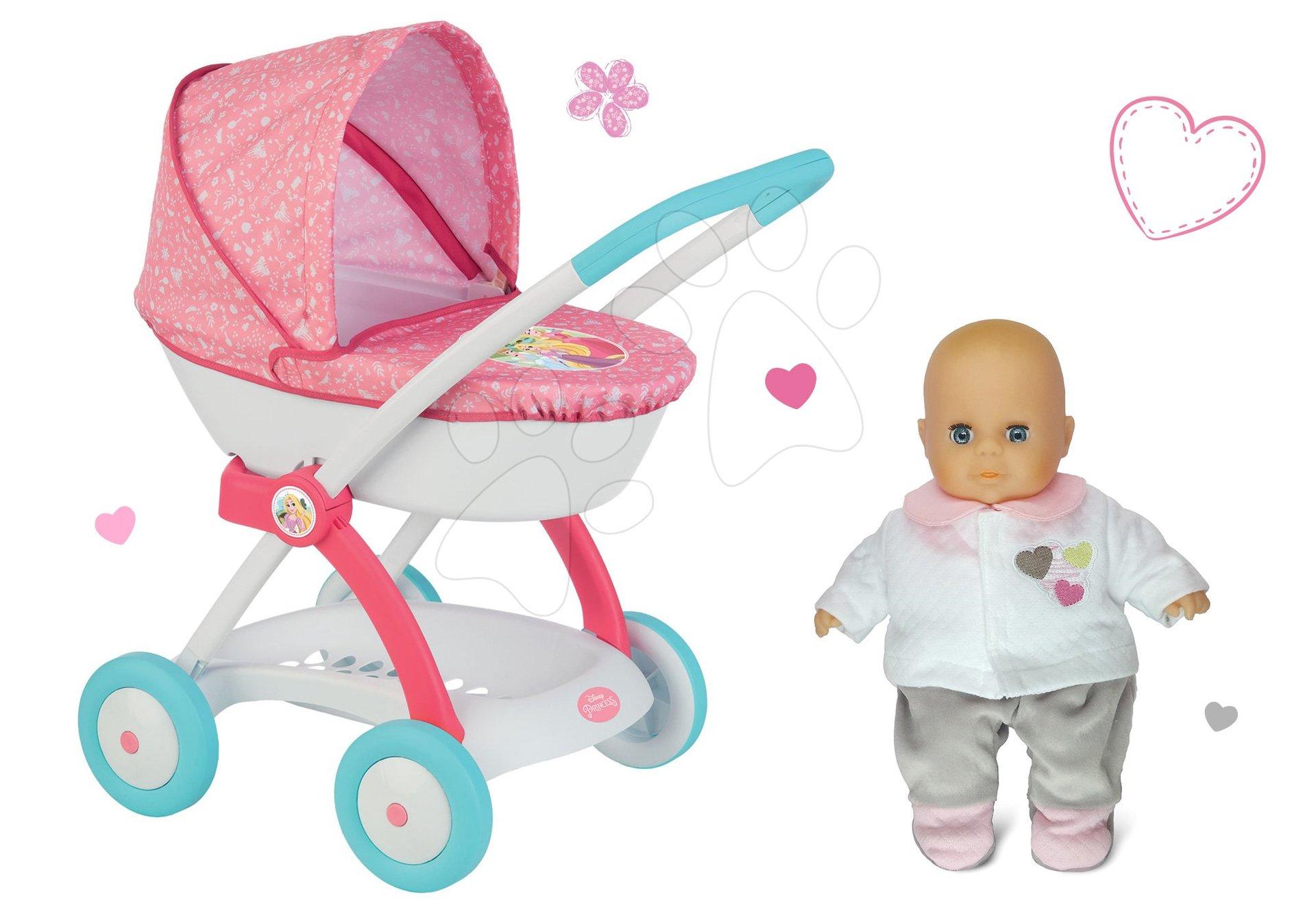 Smoby set hlboký kočík pre 42 cm bábiku Princezné Disney a bábika v šatočkách 254102-2