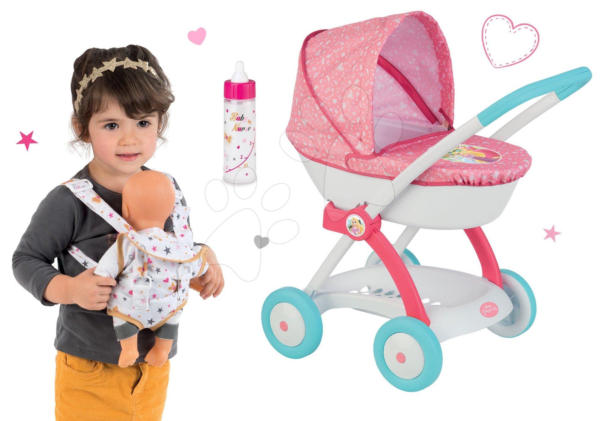 Smoby set hlboký kočík pre 42 cm bábiku Princezné Disney a klokanka a fľaška s mliekom Baby Nurse 254102-3