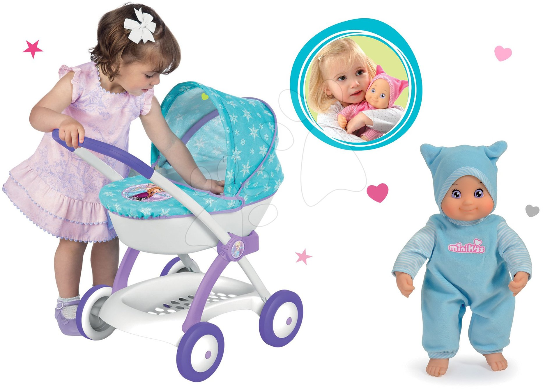 Komplet globoki voziček za 42 cm dojenčka Frozen Disney Smoby in dojenček MiniKiss z zvokom moder