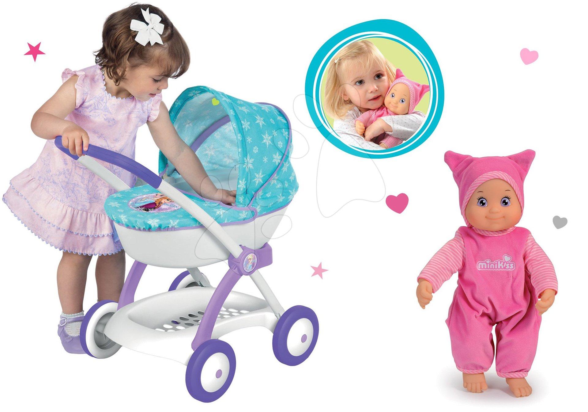 Komplet globoki voziček za 42 cm dojenčka Frozen Disney Smoby in dojenček Minikiss z zvokom rožnati