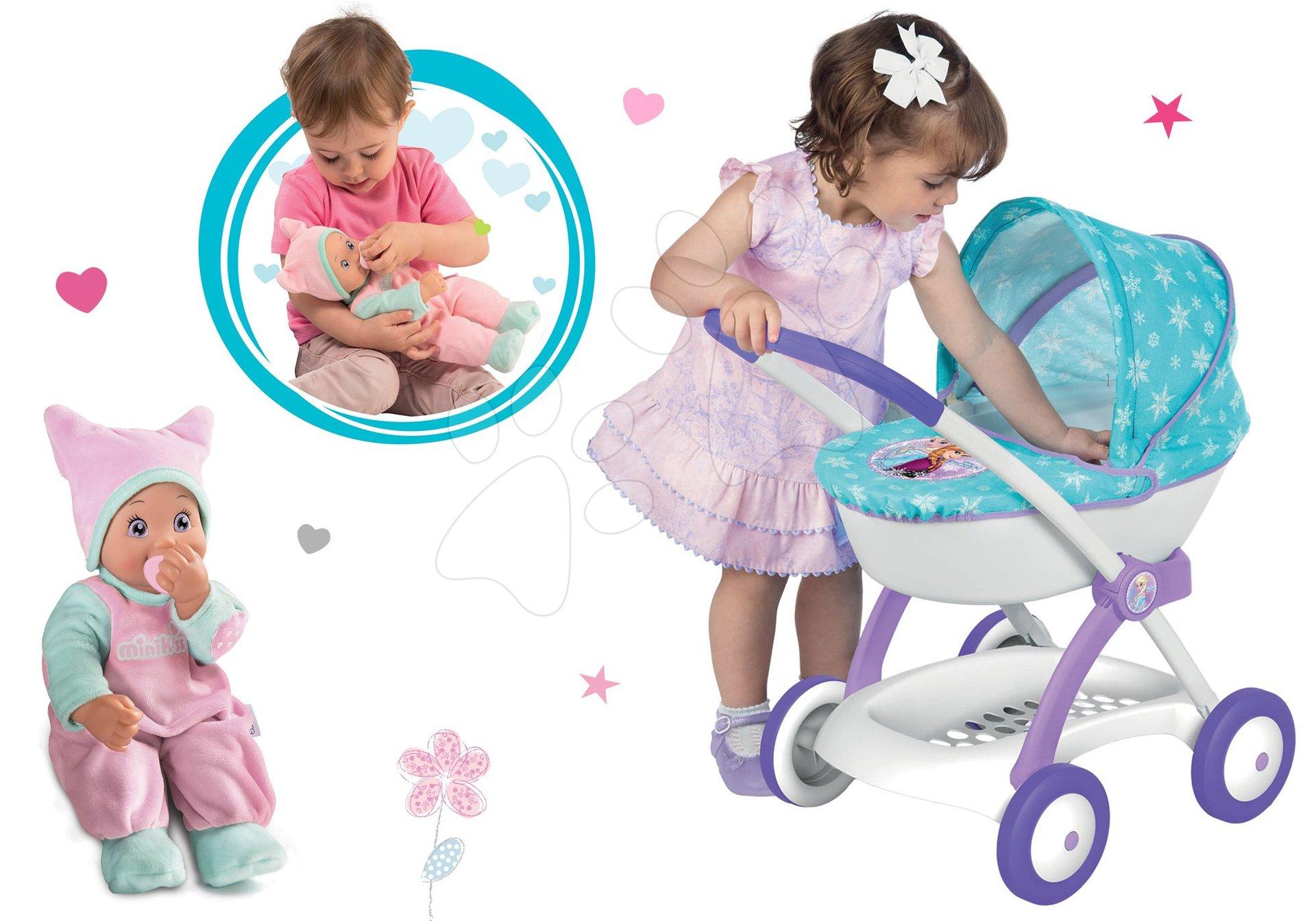 Komplet globoki voziček za 42 cm dojenčka Frozen Disney Smoby in dojenček Minikiss z zvokom in dudo