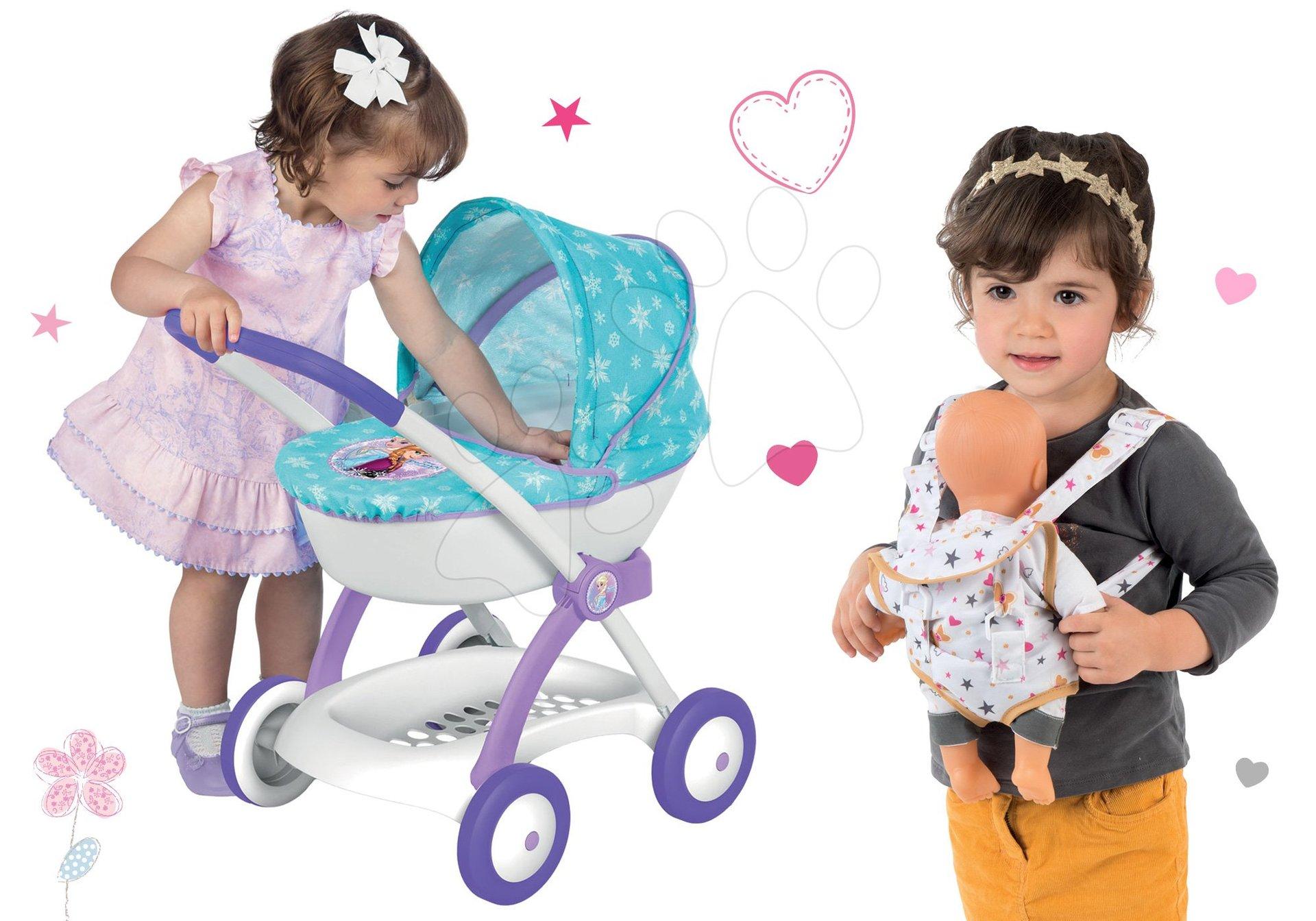 Smoby set hlboký kočík pre 42 cm bábiku Frozen Disney a klokanka Baby Nurse 254146-3