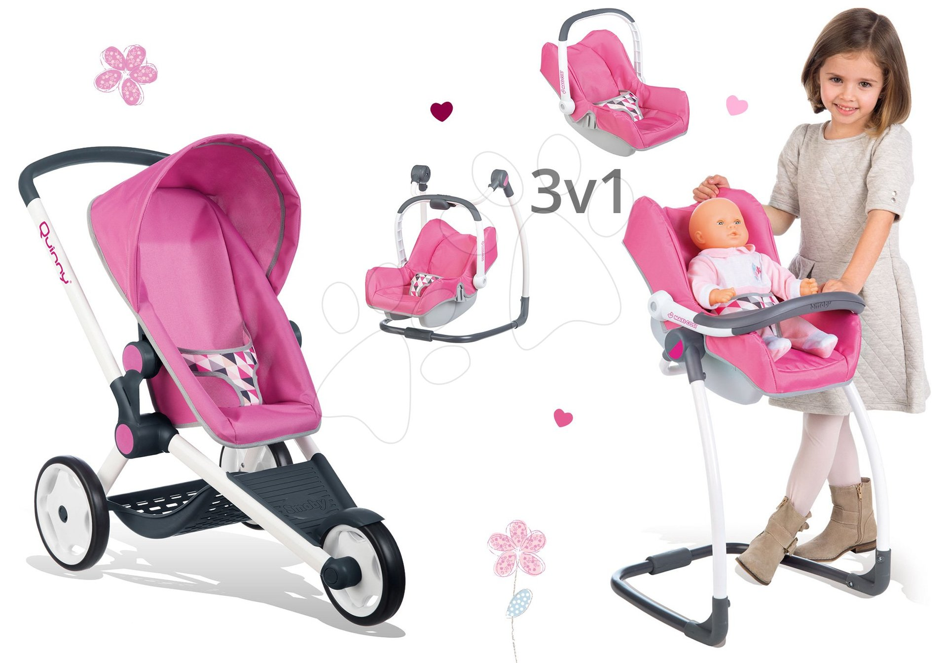 Set kočárek pro panenku Maxi-Cosi&Quinny Smoby a židle, houpačka a autosedačka pro panenku 3v1