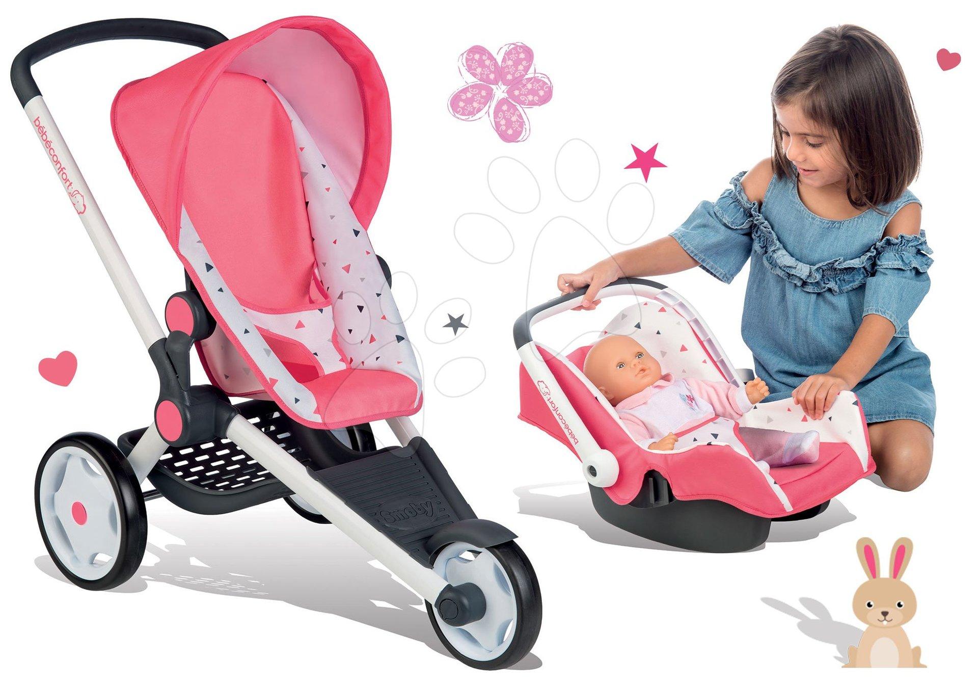 Smoby set športový kočík Trio Pastel Jogger polohovateľný a autosedačka pre bábiku 255098-2
