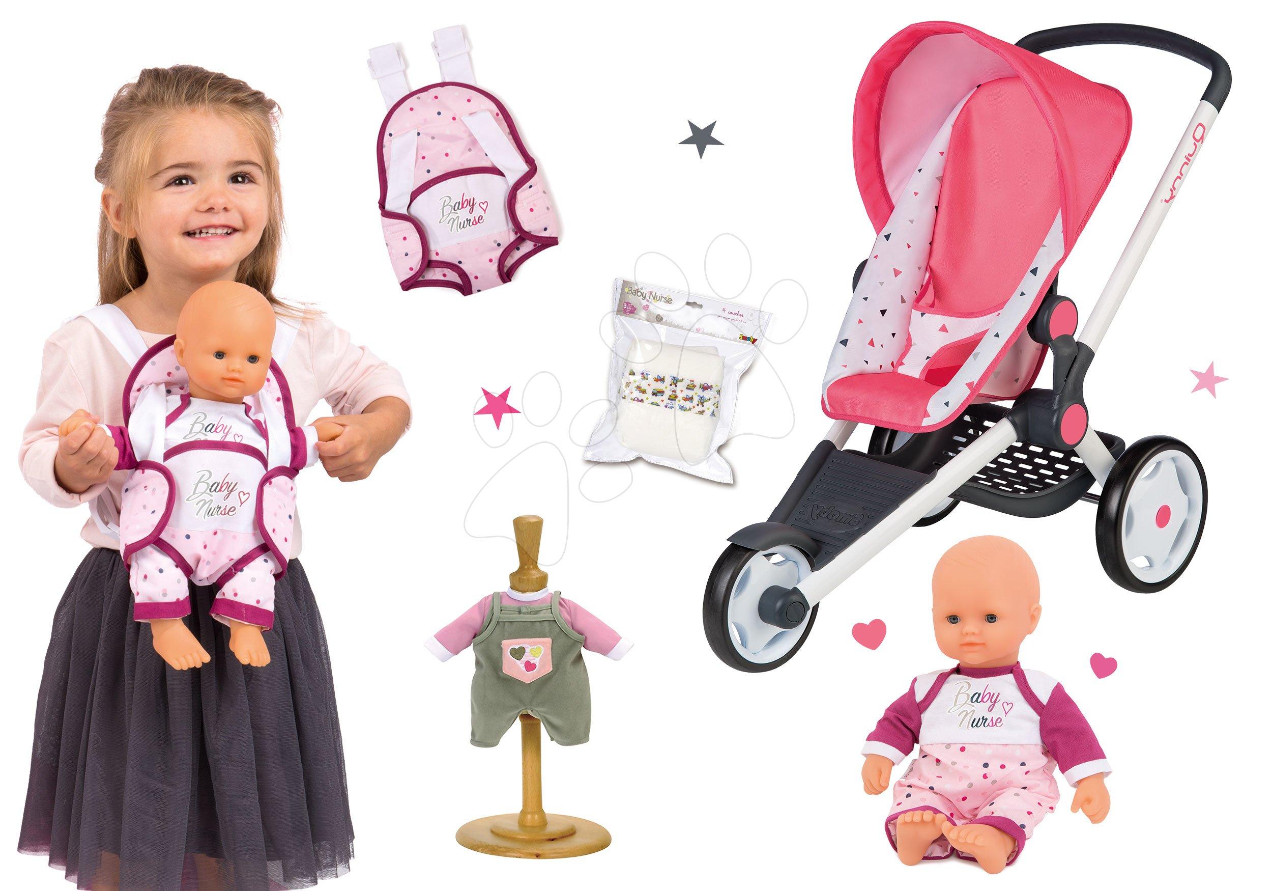 Set sportovní kočárek Trio Pastel Maxi Cosi&Quinny Jogger Smoby polohovatelný se a panenka Baby Nurse 32 cm s nosičem a pamperskami s šatičkami