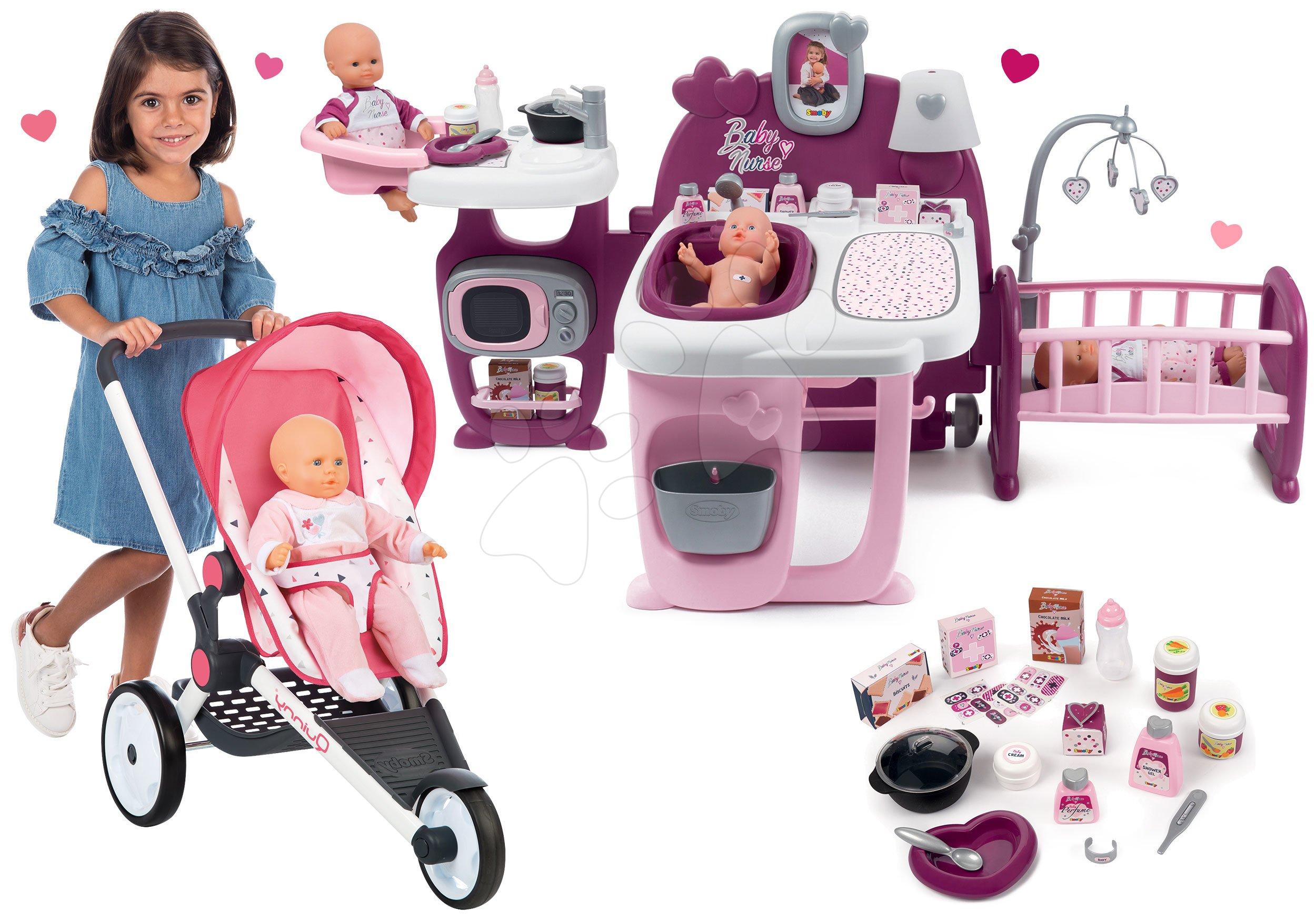 Set športový kočík Trio Pastel Maxi Cosi&Quinny Jogger Smoby polohovateľný so strieškou a domček pre bábiku Violette Baby Nurse Large Doll's Play Center