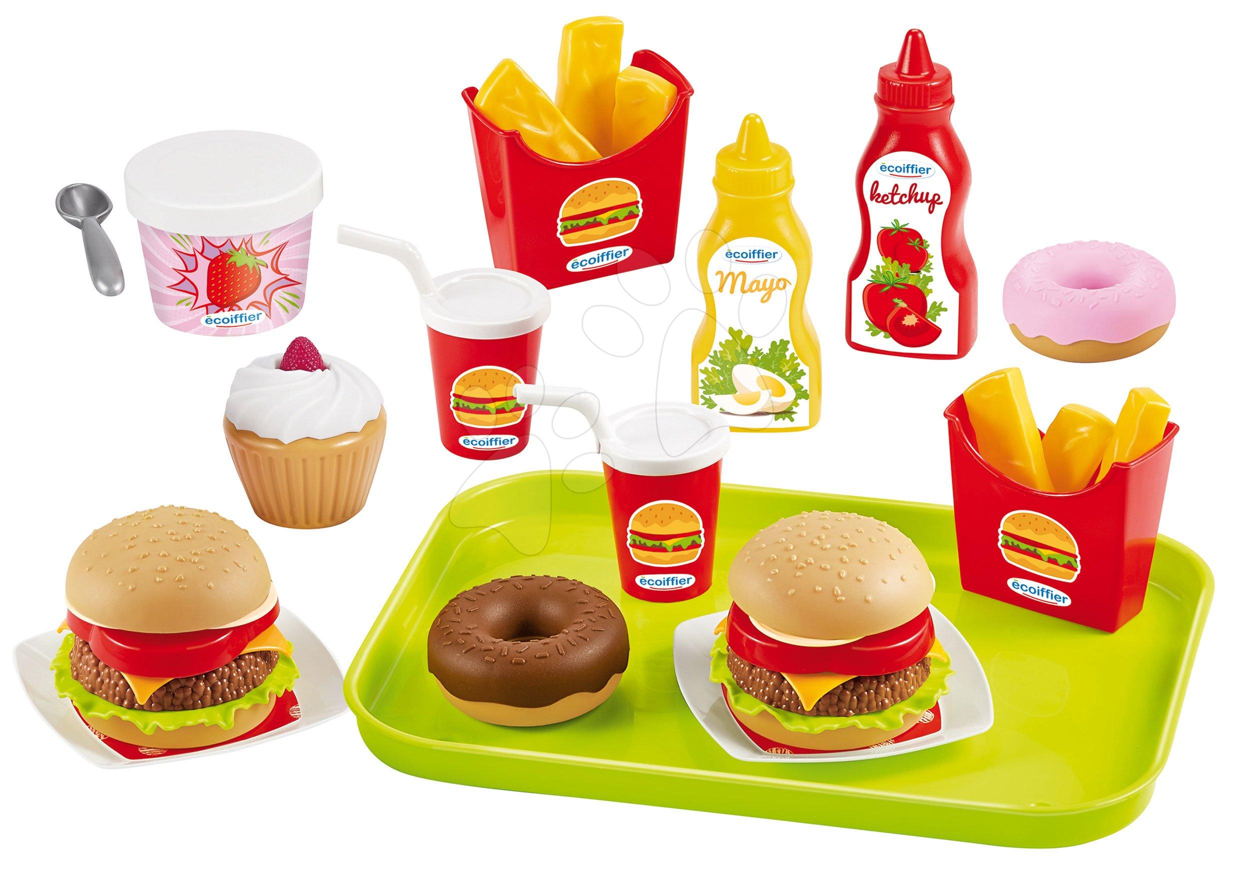 Hamburger bar 100% Chef Écoiffier  cu alimente și 25 de accesorii de la 18 luni