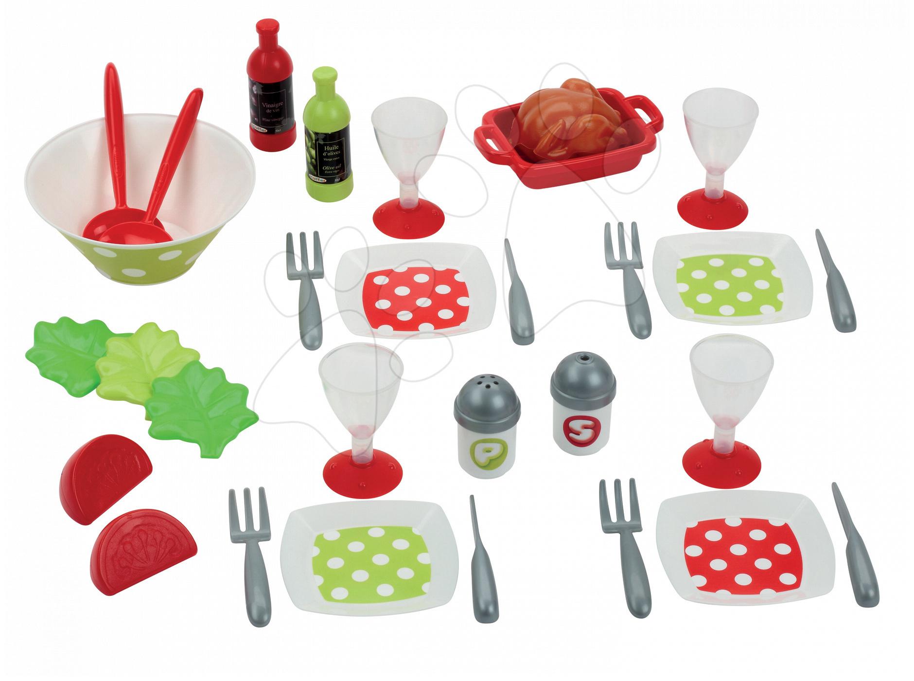 Riadíky a doplnky kuchynky - Súprava na obed 100% Chef Écoiffier so šalátom s 32 doplnkami od 18 mes