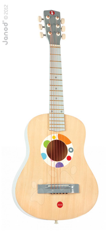 Dřevěná kytara Confetti Large Guitar Janod s realistickým zvukem 75,5 cm od 5 let