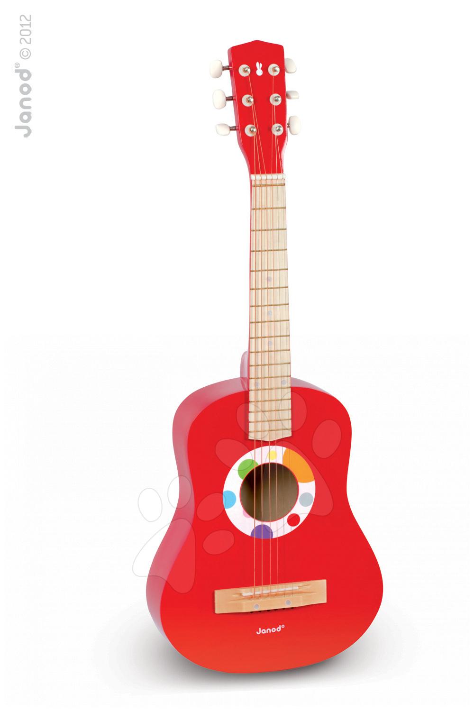 Dřevěná kytara  Confetti Big Red Guitar s realistickým zvukem Janod s realistickým zvukem 75,5 cm od 5 let